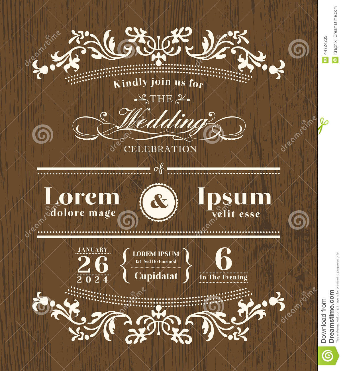 vintage typography wedding invitation design stock vector illustration of cute classic 44724205. Black Bedroom Furniture Sets. Home Design Ideas