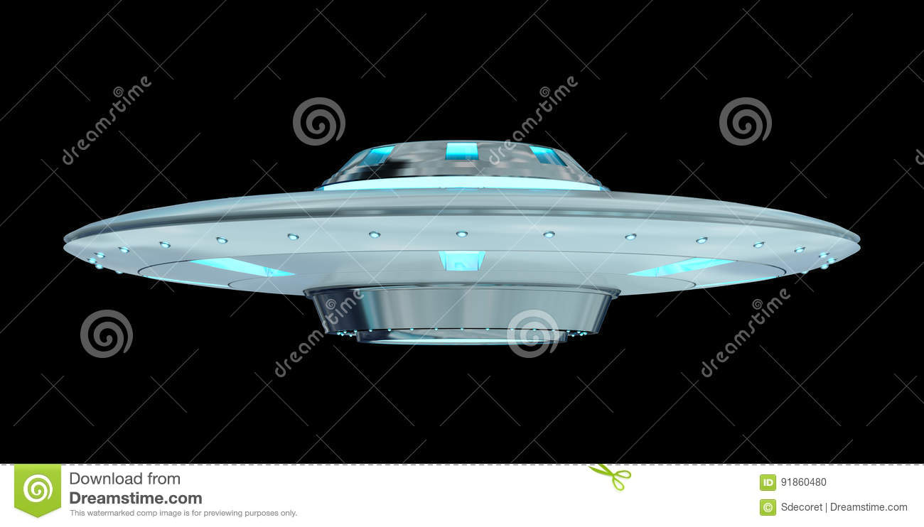 Vintage UFO Isolated On Black Background 3D Rendering Stock ... for Ufo Black Background  192sfw