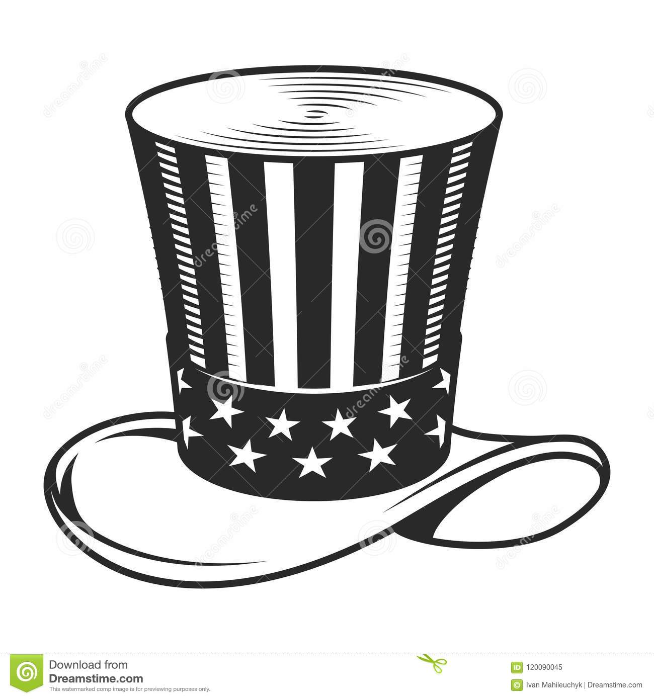 vintage uncle sam hat template stock vector illustration of