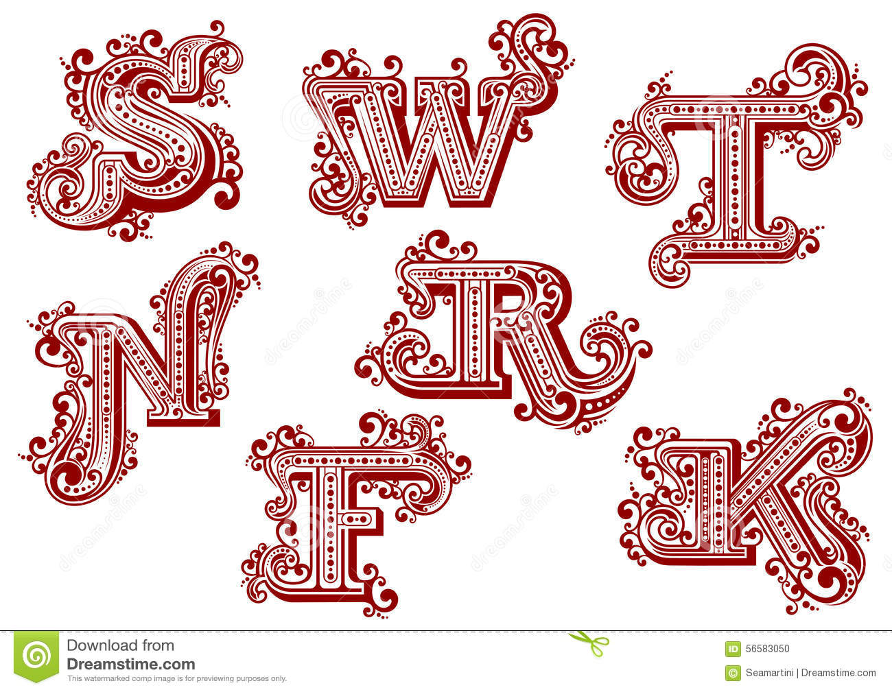 vintage uppercase red floral letters stock vector