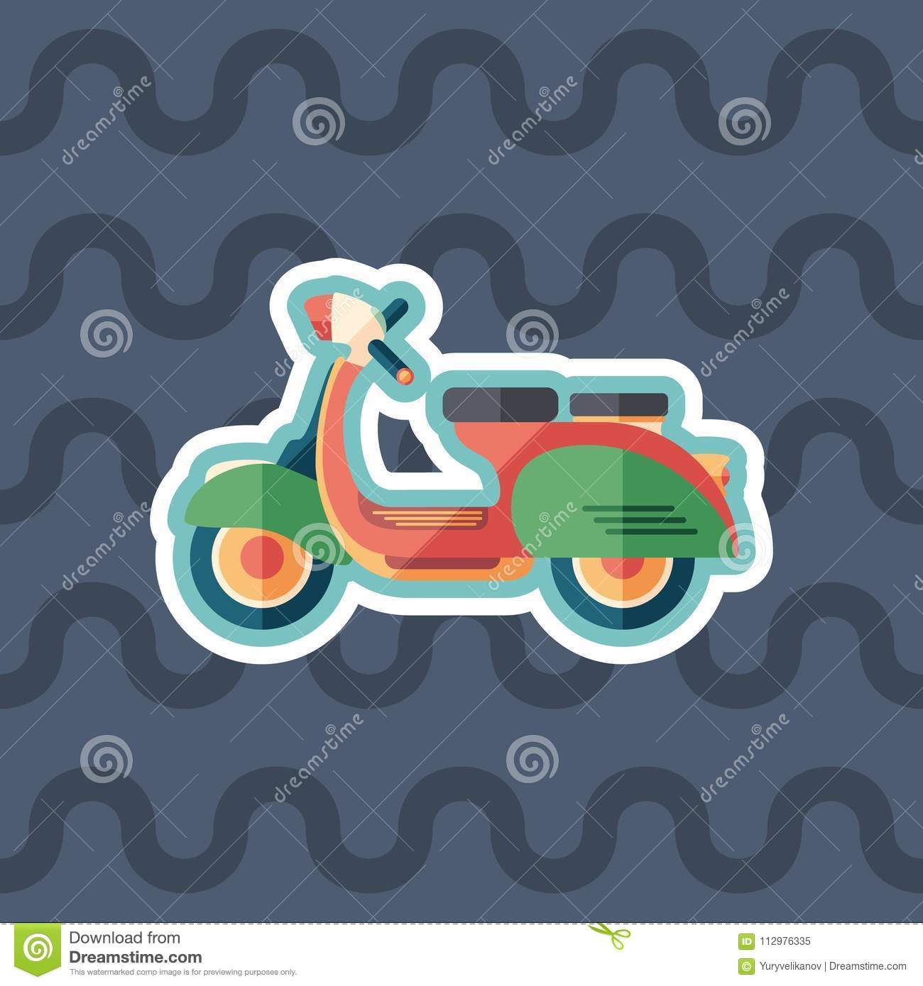 Vintage urban scooter sticker flat icon with color background