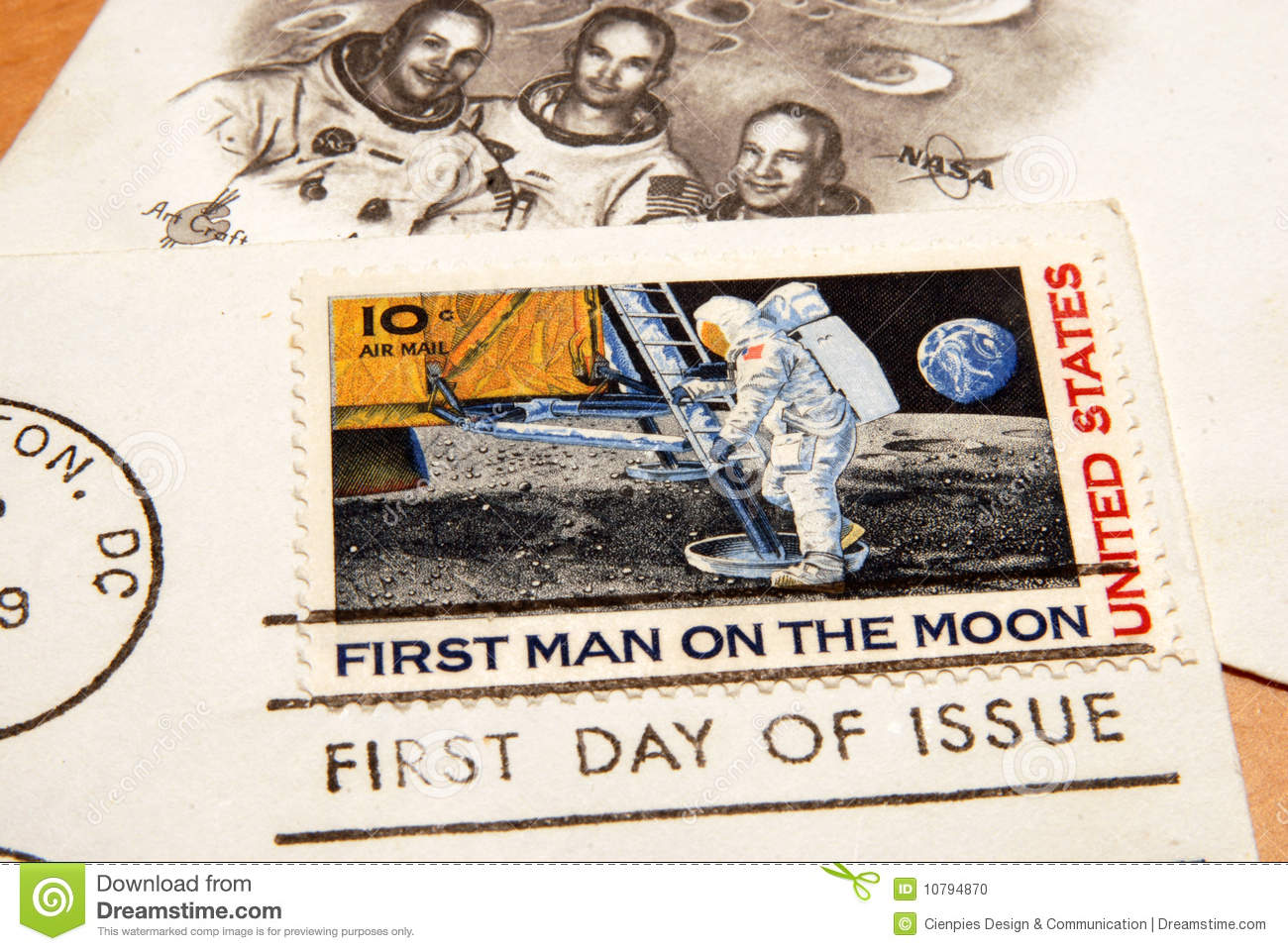 Vintage US Stamp Of The First Man On Moon