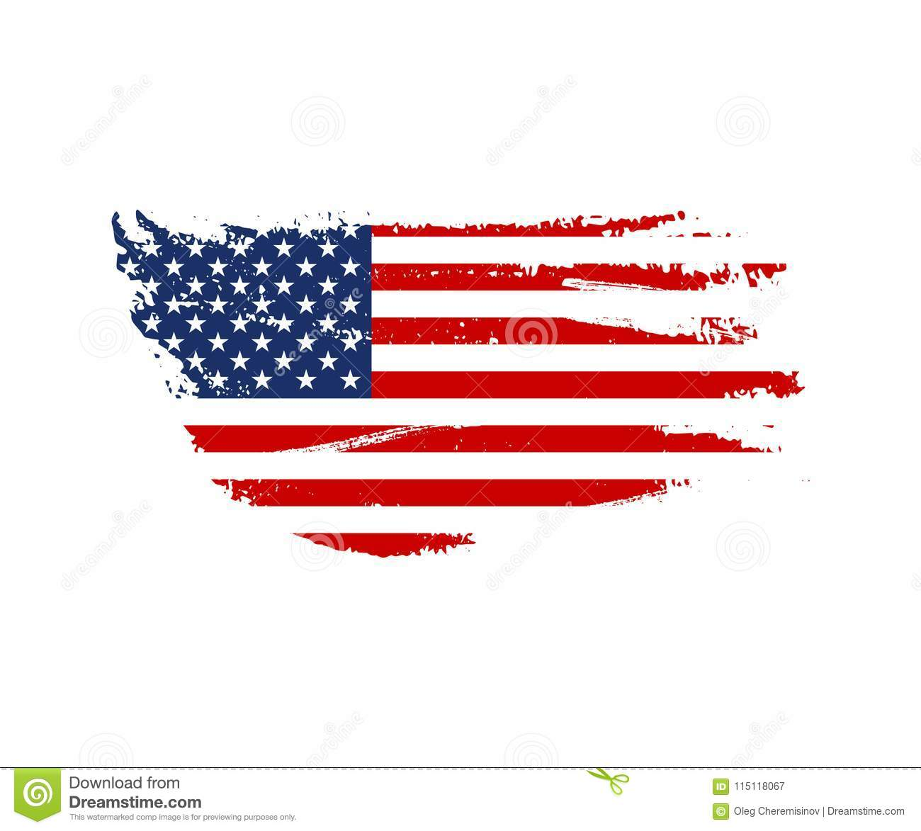 Vintage USA flag illustration. Vector American flag on grunge texture.