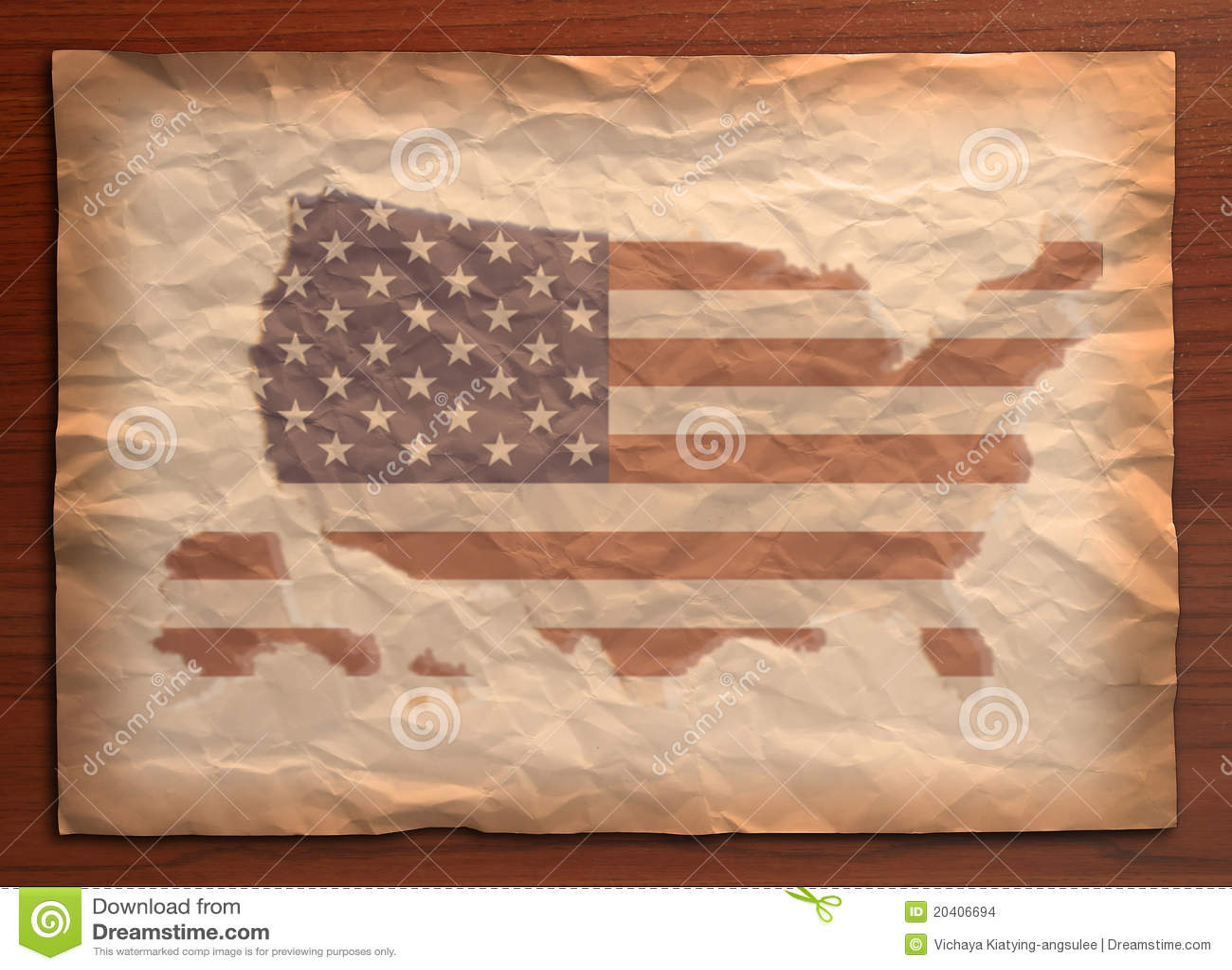 Vintage Usa Map On Paper Craft Stock Illustration - Illustration of ...
