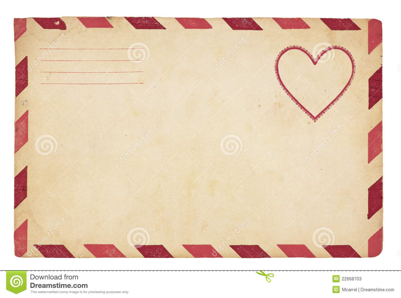 ... with red striped border. Isolated on white with clipping path