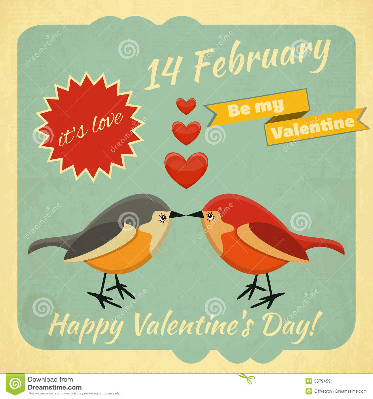 Valentine S Day Vintage Toys : Vintage valentines day card stock vector illustration of