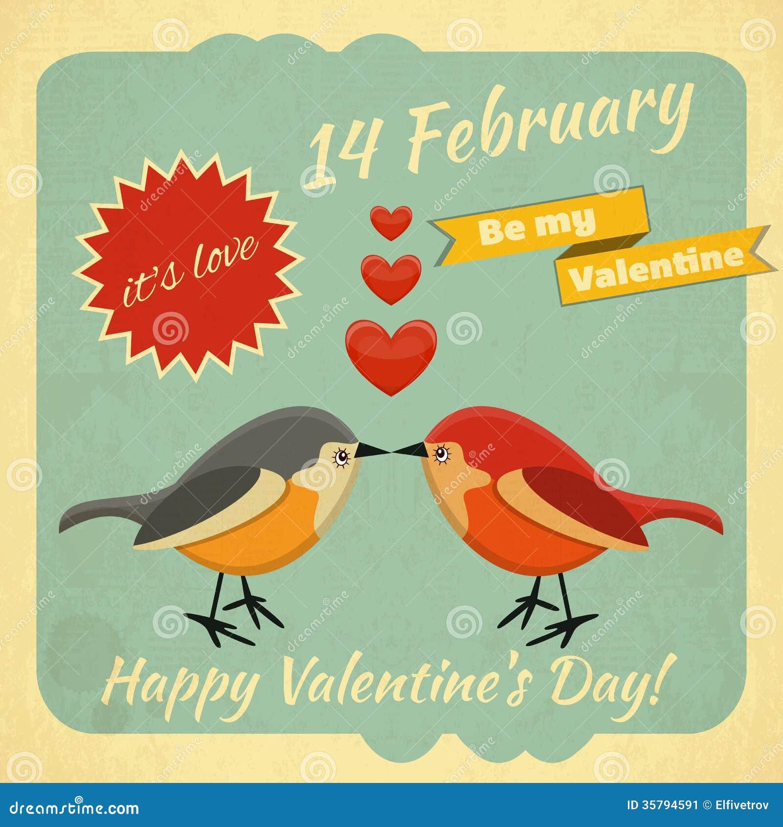 Vintage Valentines Day Card Stock Vector - Illustration of design ...