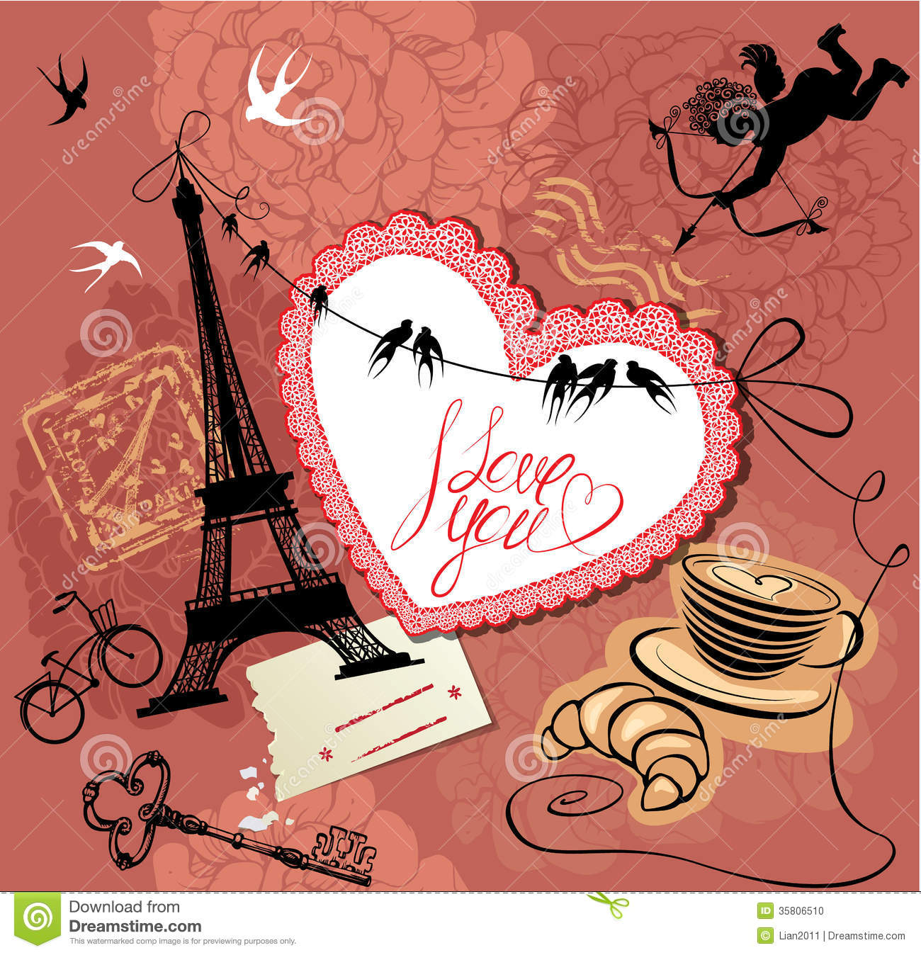 Vintage Valentines Day Postcard With Paris Theme Photo – Valentines Day Post Cards
