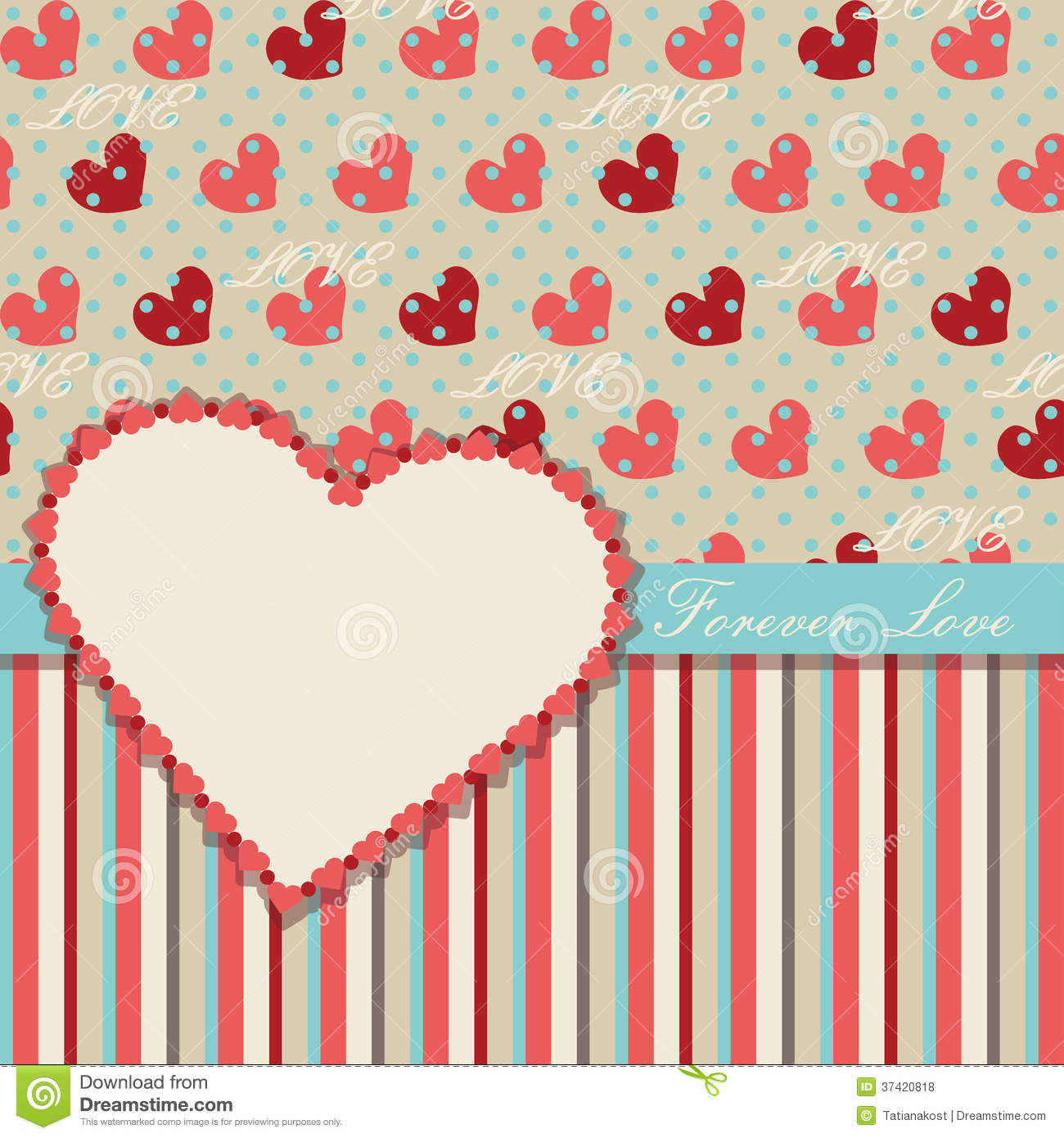 Vintage Valentines Design Template With Hearts And Stock