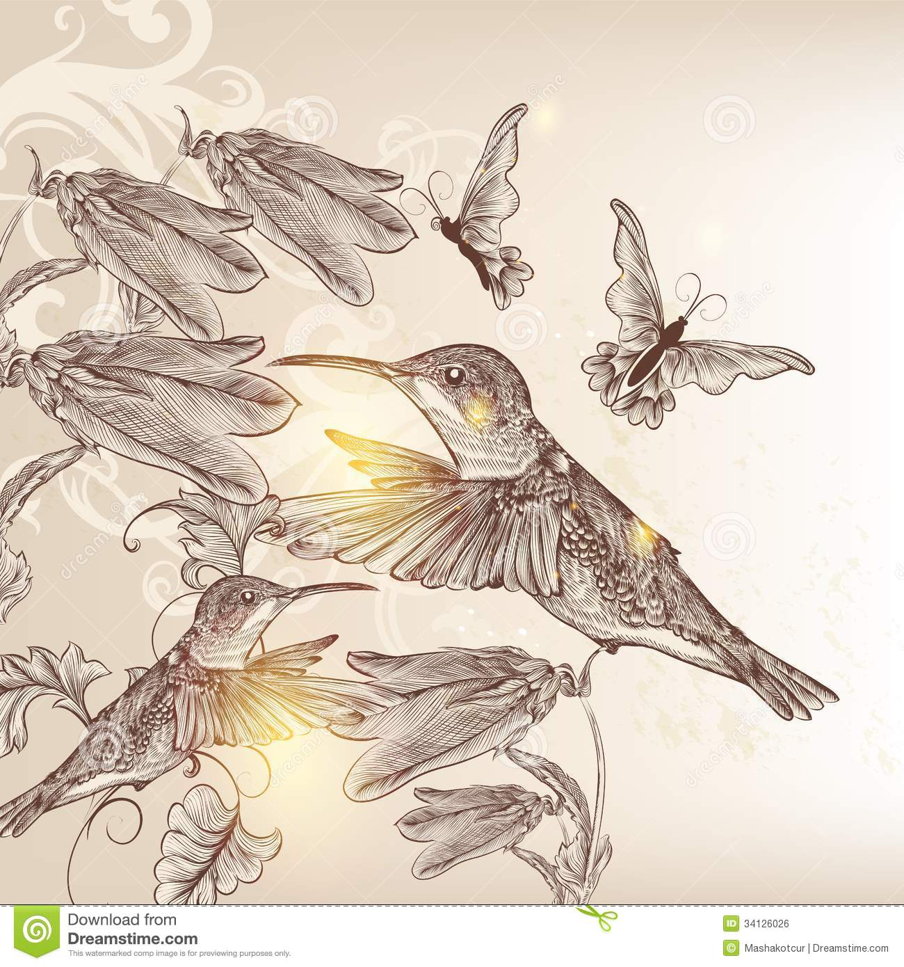 Vintage Vector Background With Human Bird Butterflies And Flowe Royalty Free Stock Image