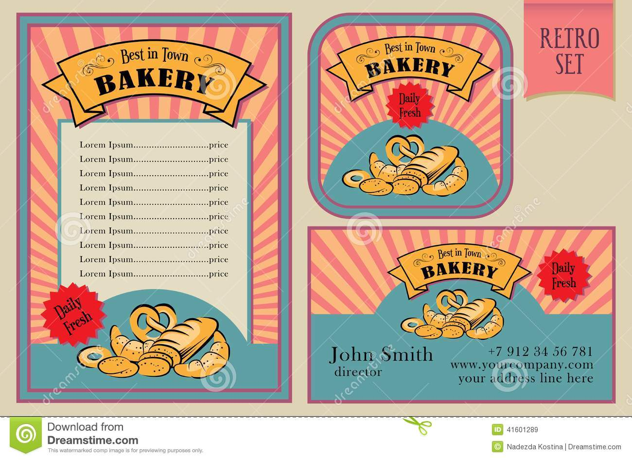 Vintage Vector Bakery Labels Collection Stock Vector - Image: 41601289