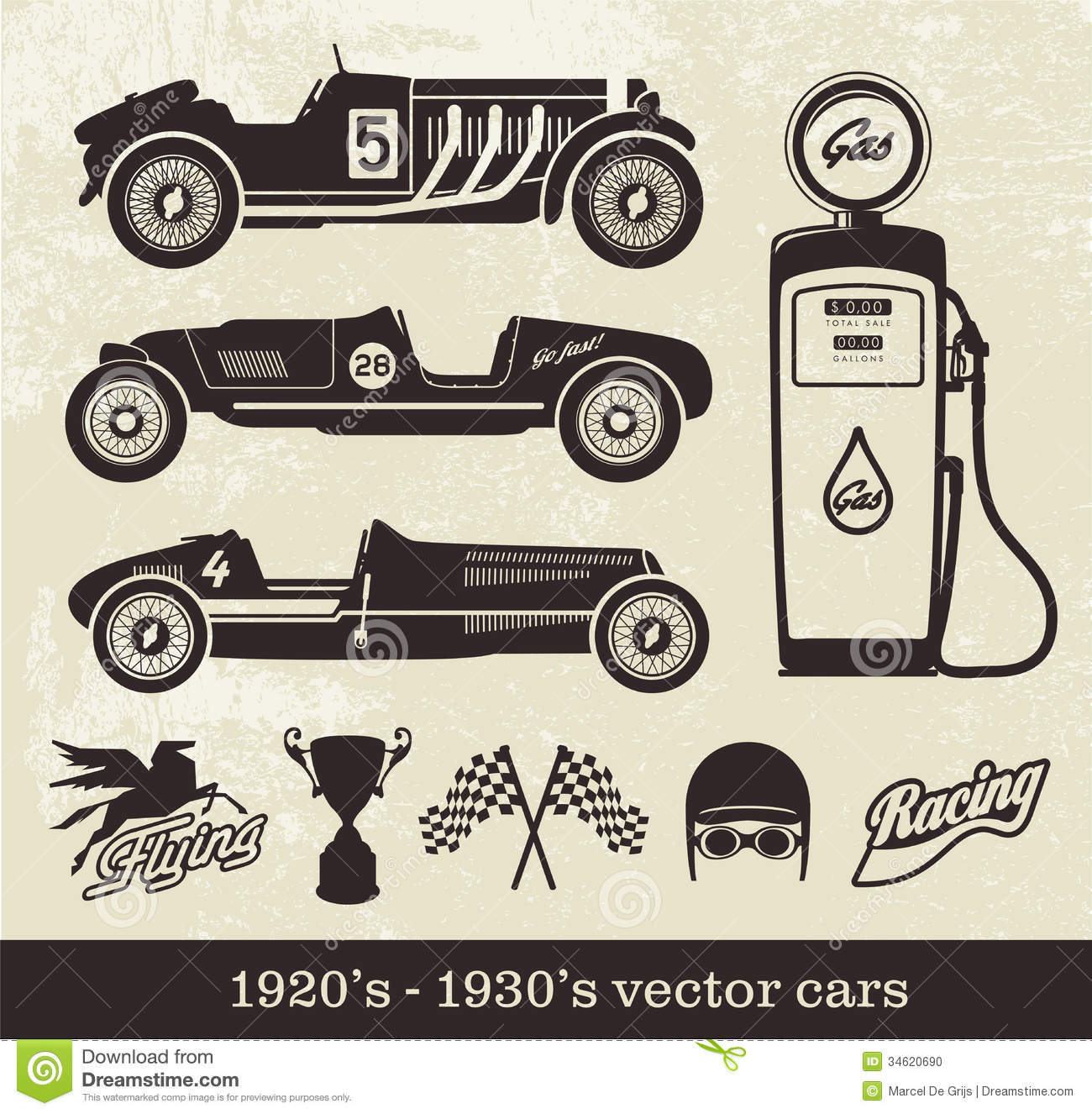 Vintage vector cars stock vector. Illustration of cars - 34620690
