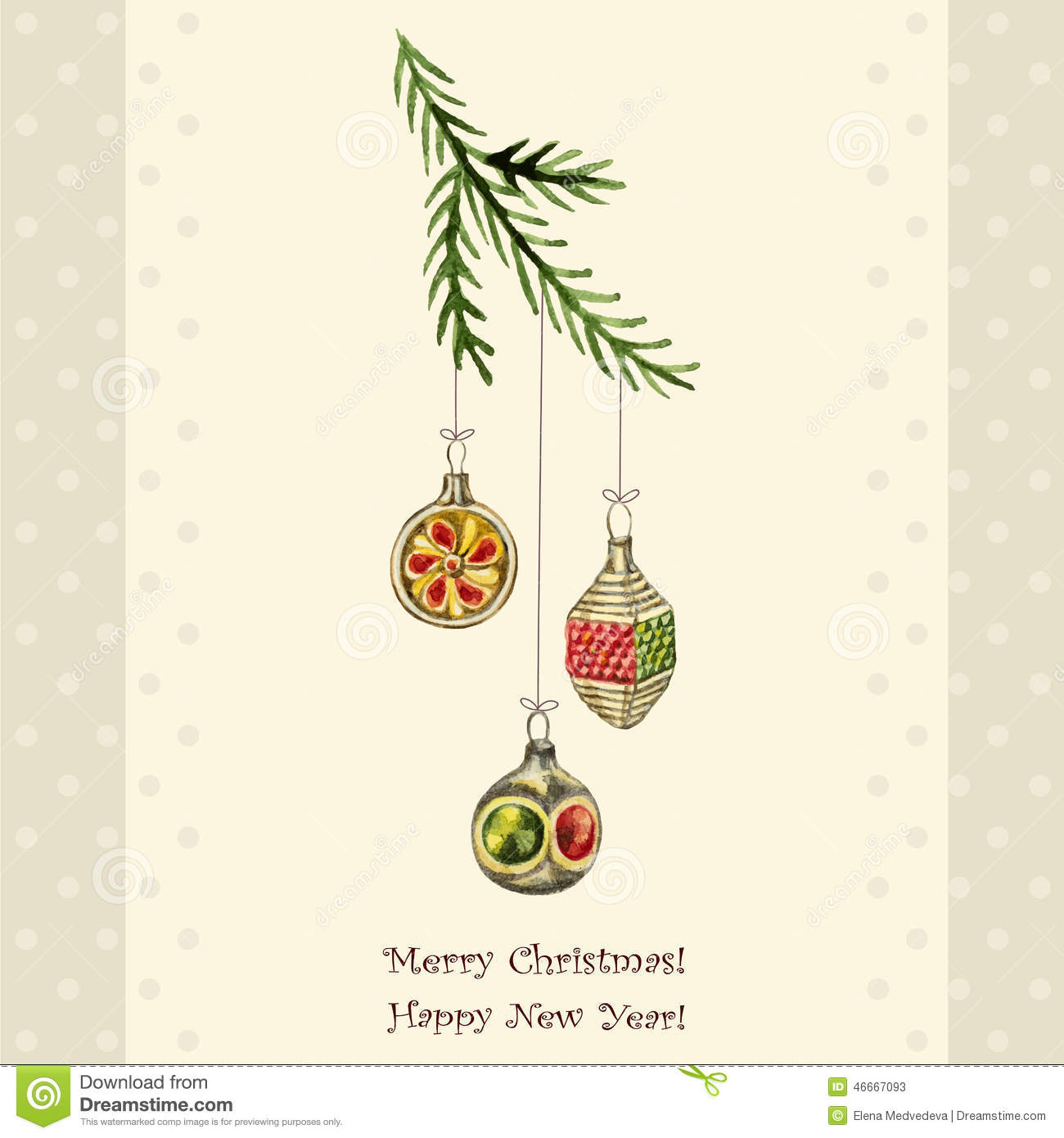Christmas Watercolor Retro Postcard Christmas Decorations Hanging From The Branches Of Spruce