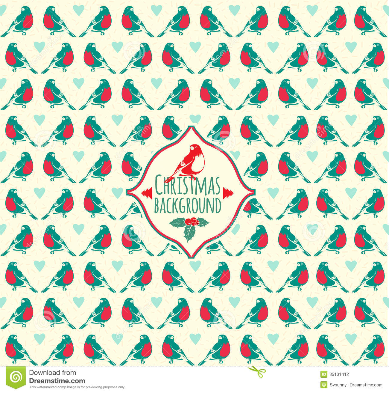 of Vintage Christmas pattern with bullfinch  Winter Bird patternVintage Christmas Pattern