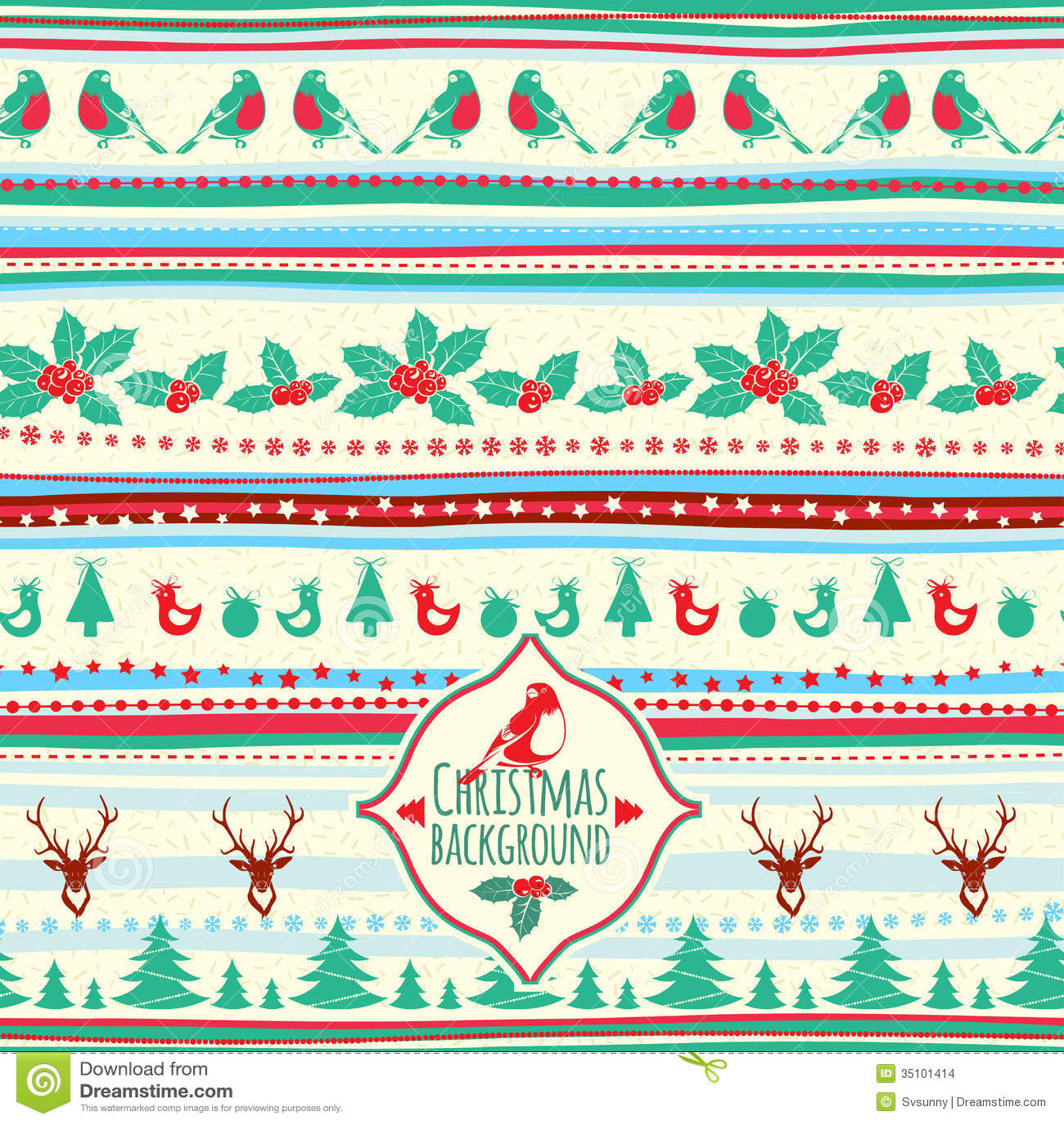 Vector illustration of Vintage Christmas pattern Vintage Christmas Pattern