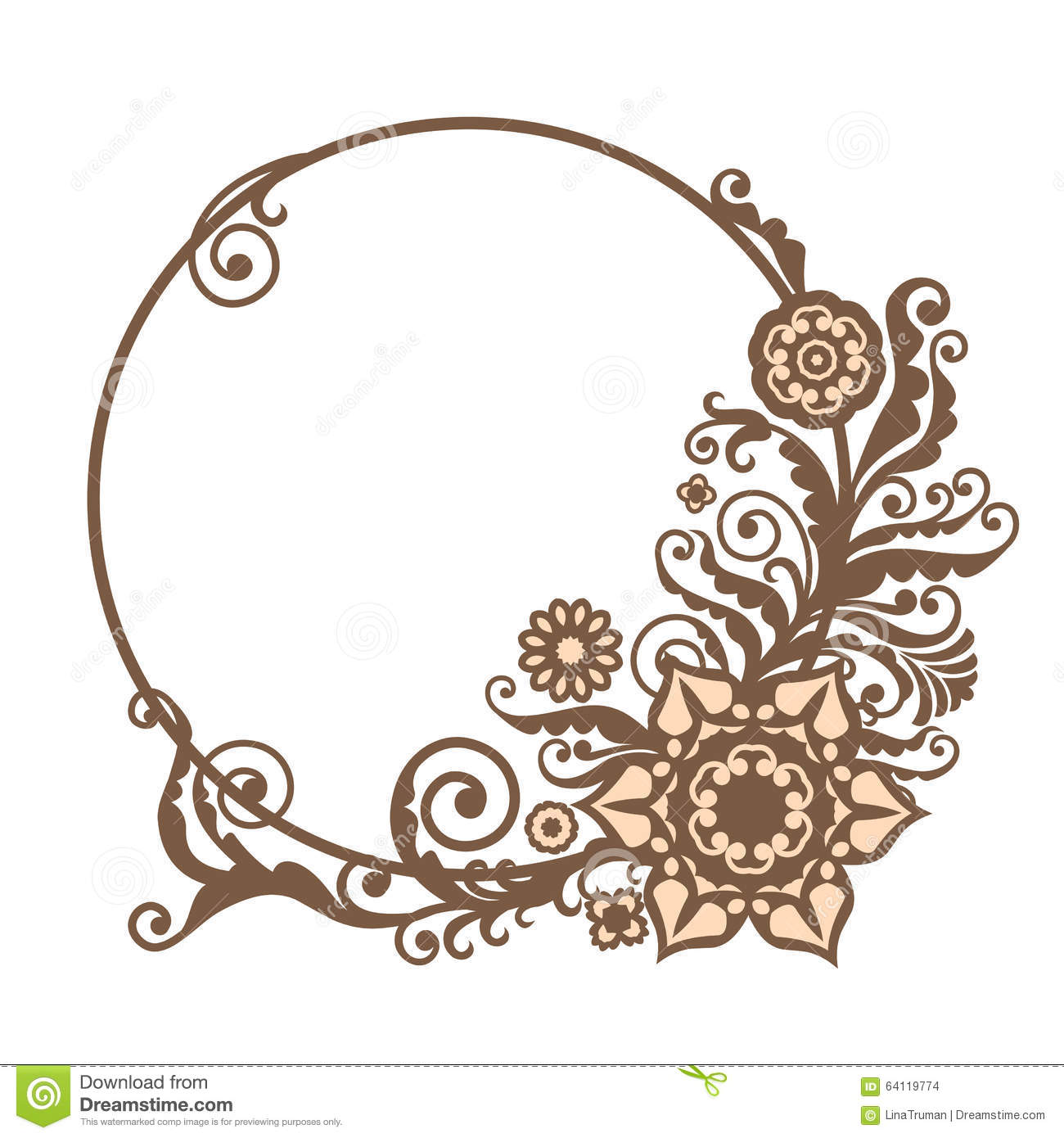 Vintage Vector Circle Frame With Floral Elements Card Design Stock