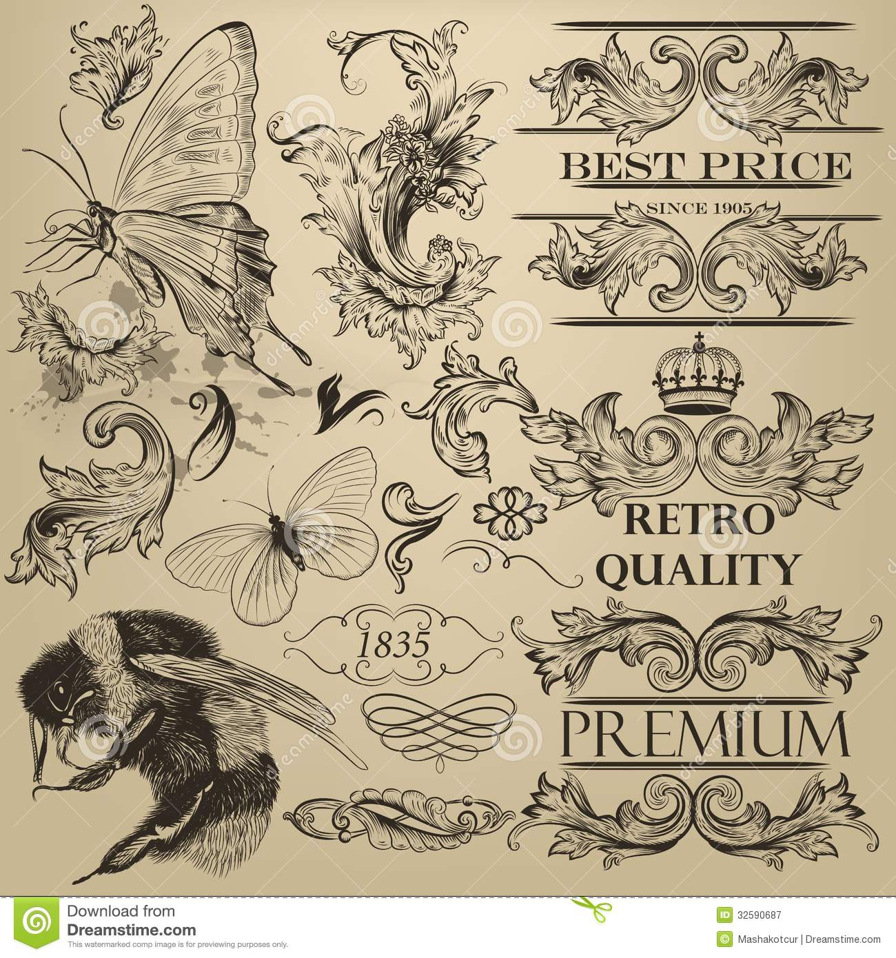Vintage Vector Decorative Elements For Design Royalty Free Stock ...