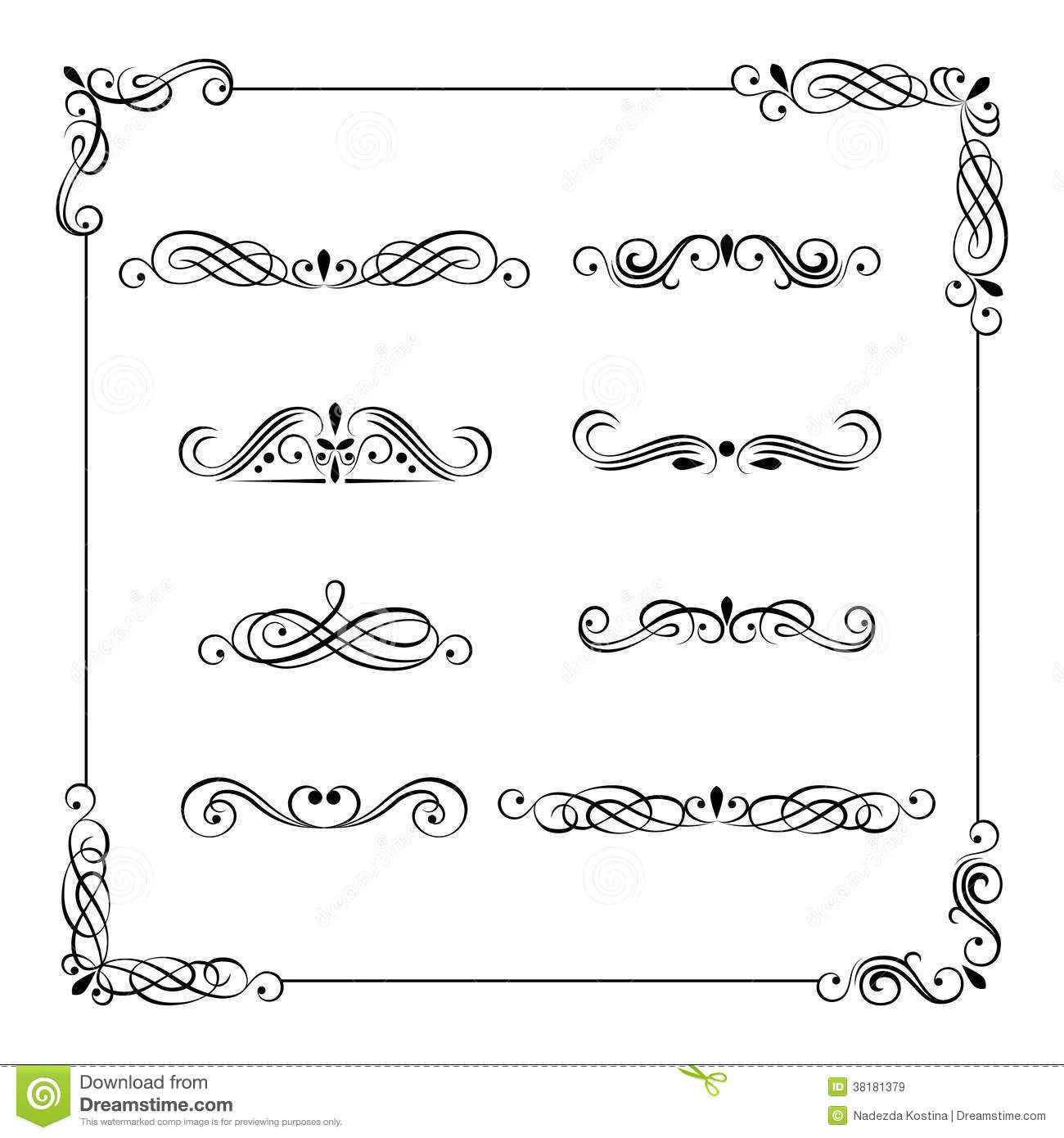 Vintage Vector Frame Border Divider Corner Flower Alphabet Stock Vectors Clipart