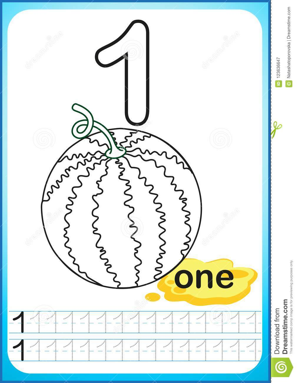 Printable worksheet for kindergarten and preschool. Exercises for writing numbers. Simple level of difficulty. Restore dashed line