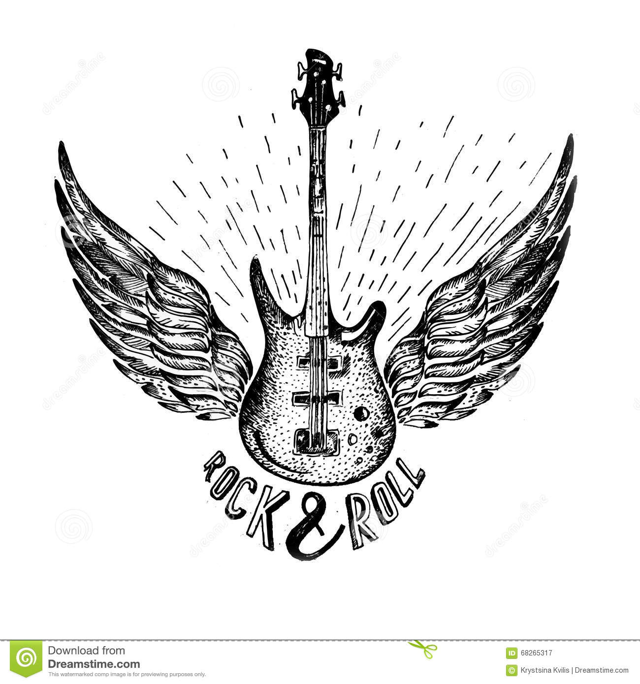 Vintage Vector Label With Rock And Roll Forever Guitar Royalty Free Stock Photography