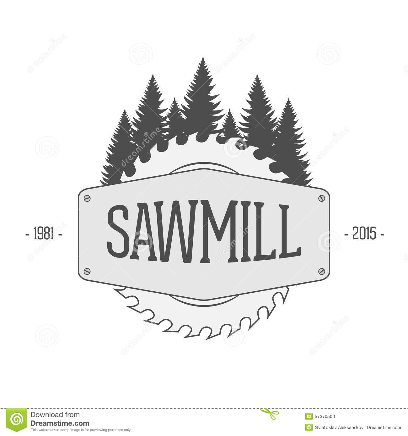 Woods Lumber Logo ~ Vintage vector label of sawmill stock image