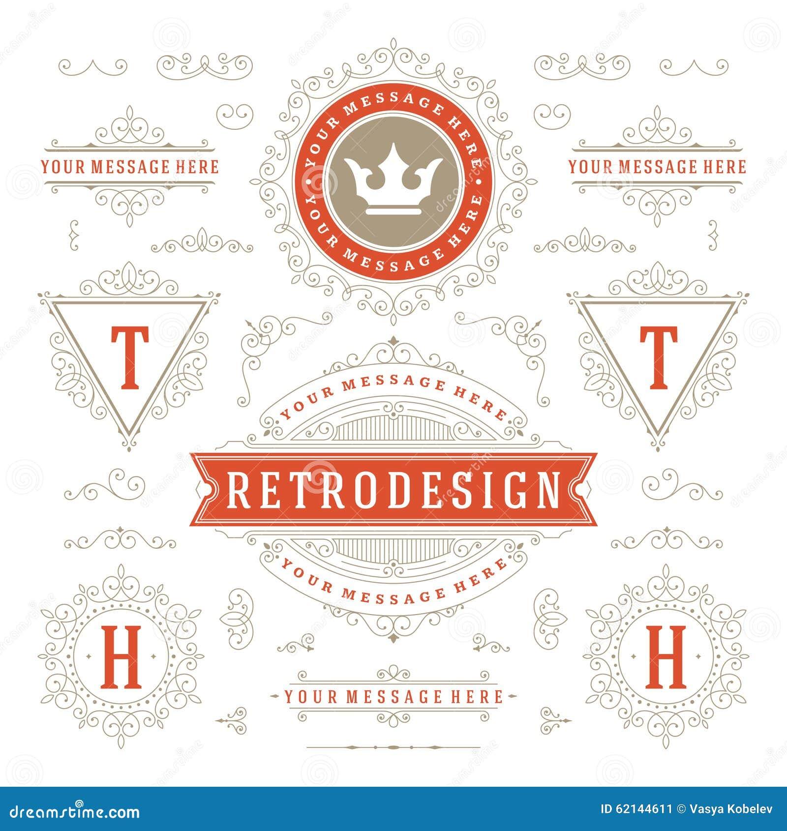 vintage vector ornaments decorations design stock vector image 62144611