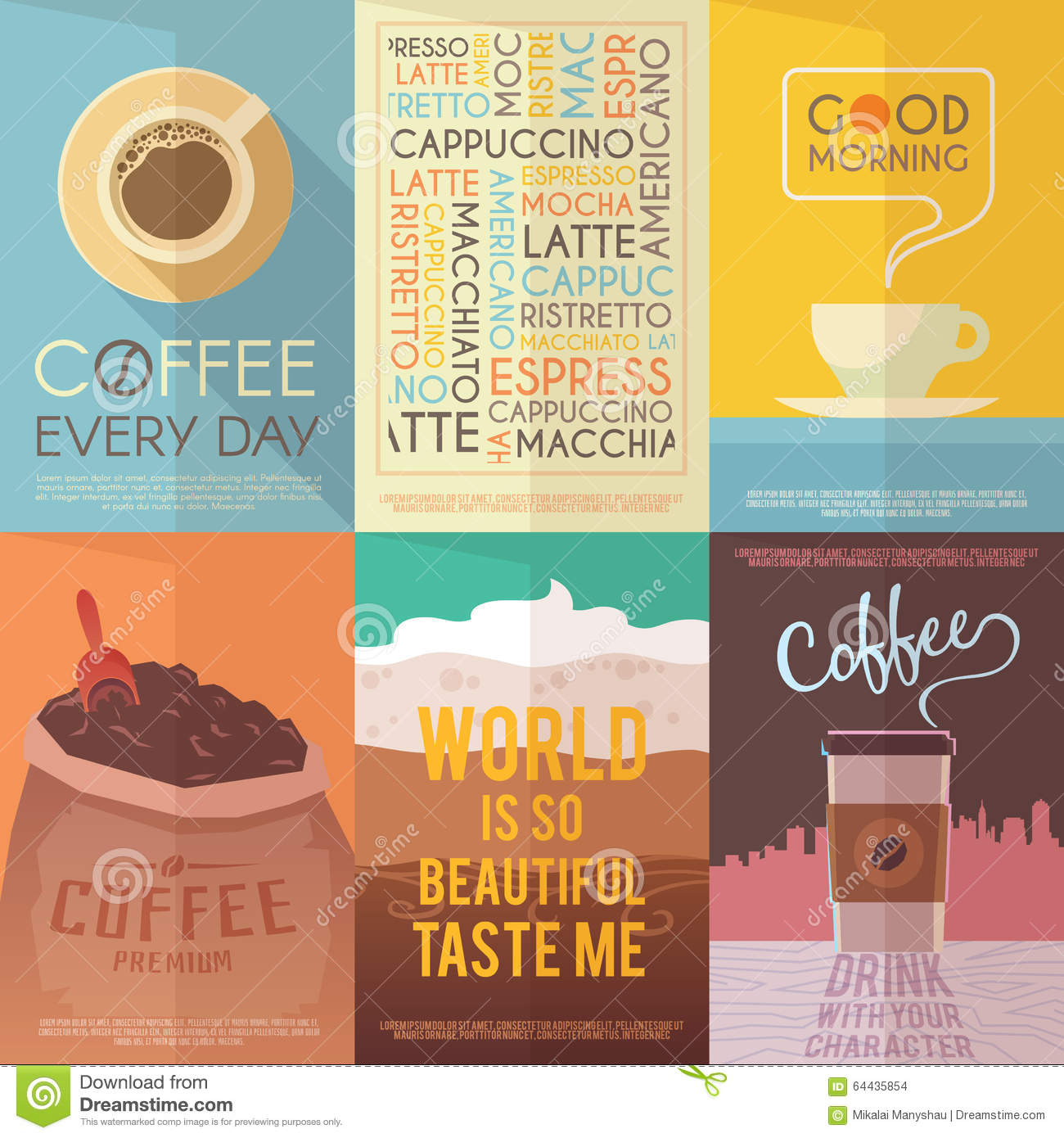 English In Italian: Vintage Vector Posters. Coffee. Drinks. Stock Vector