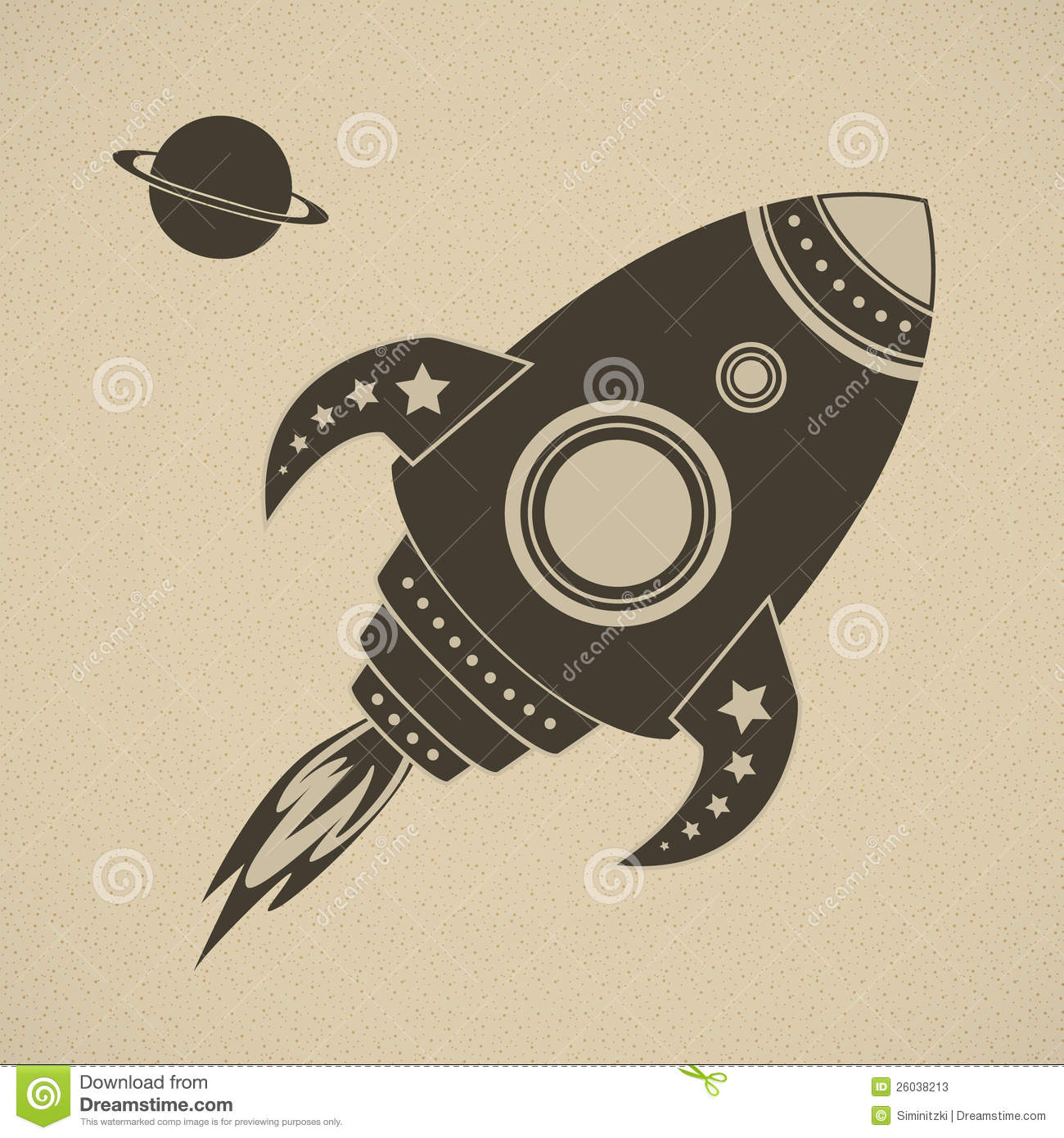 Vintage vector rocket in space stock photos image 26038213 for Retro space design