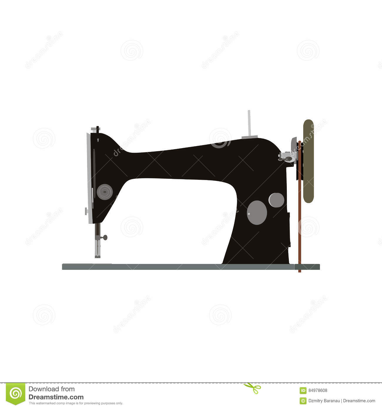 Vintage Vector Sewing Machine Inky Illustration Side View ...