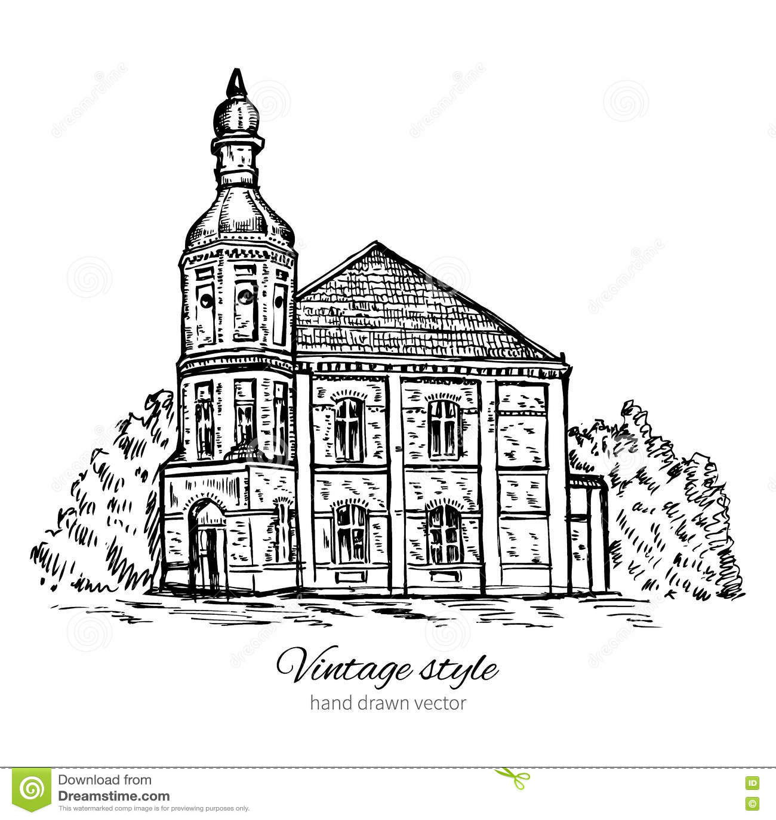 Line Art House : Vintage tile vector illustration cartoondealer