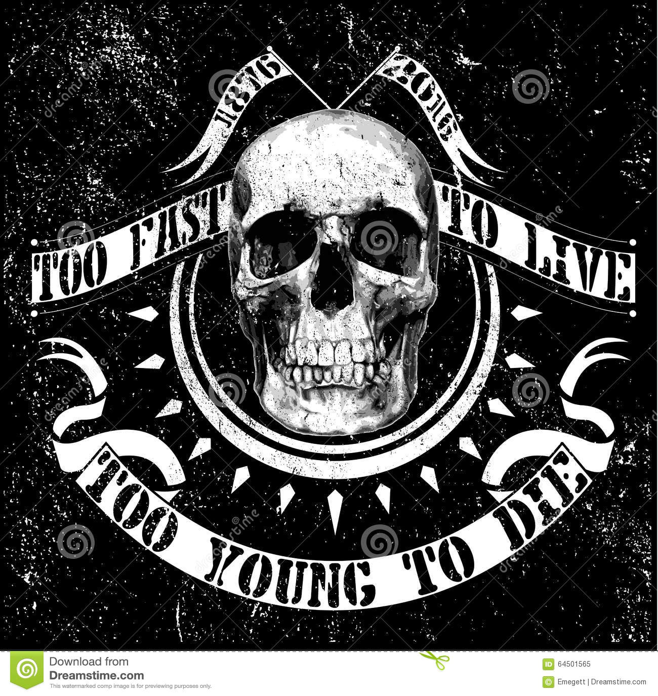 Vintage Vector Skull T Shirt Graphic Design Stock Vector Image 64501565