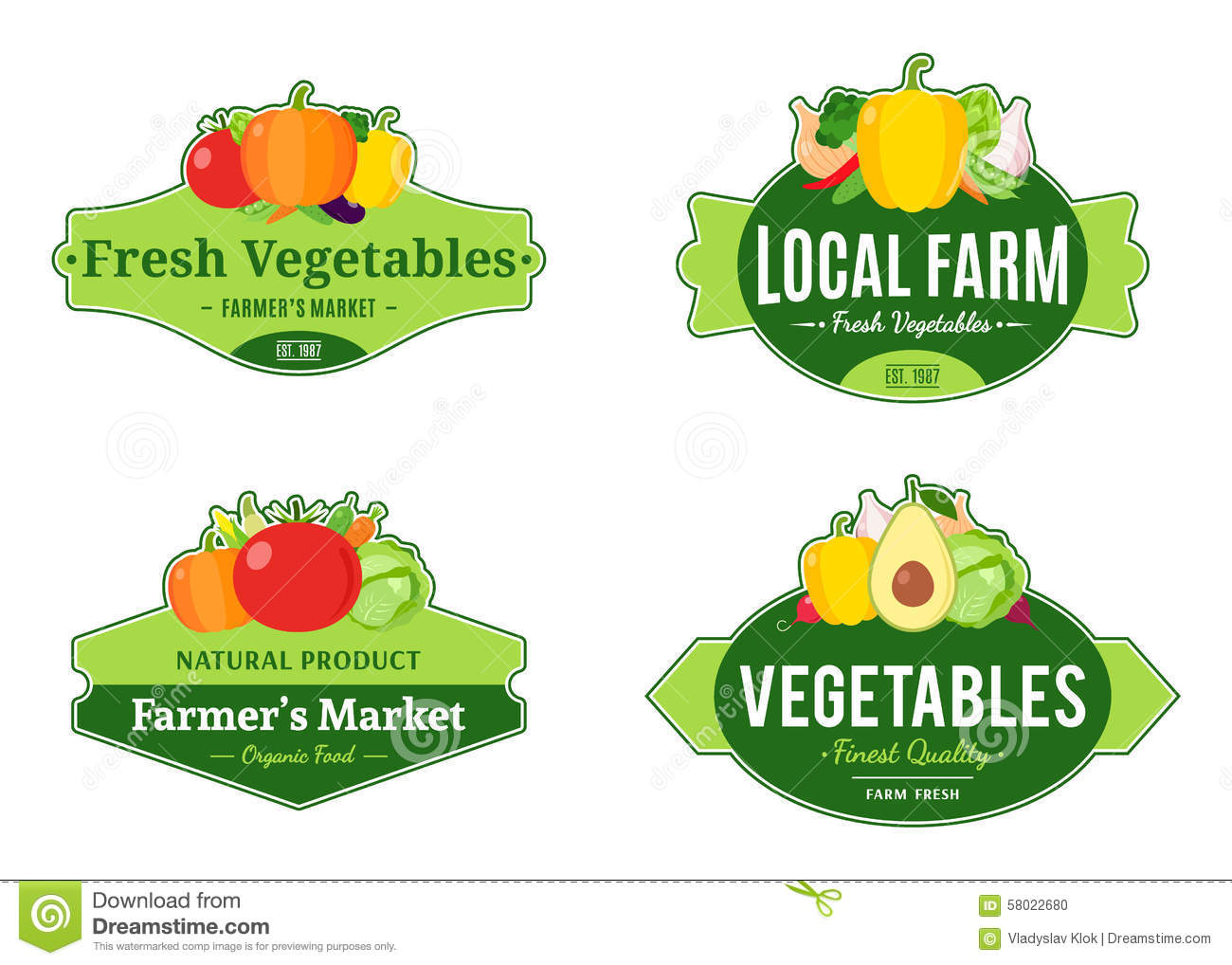 Vintage Vegetables Logos And Design Elements Illustration 58022680