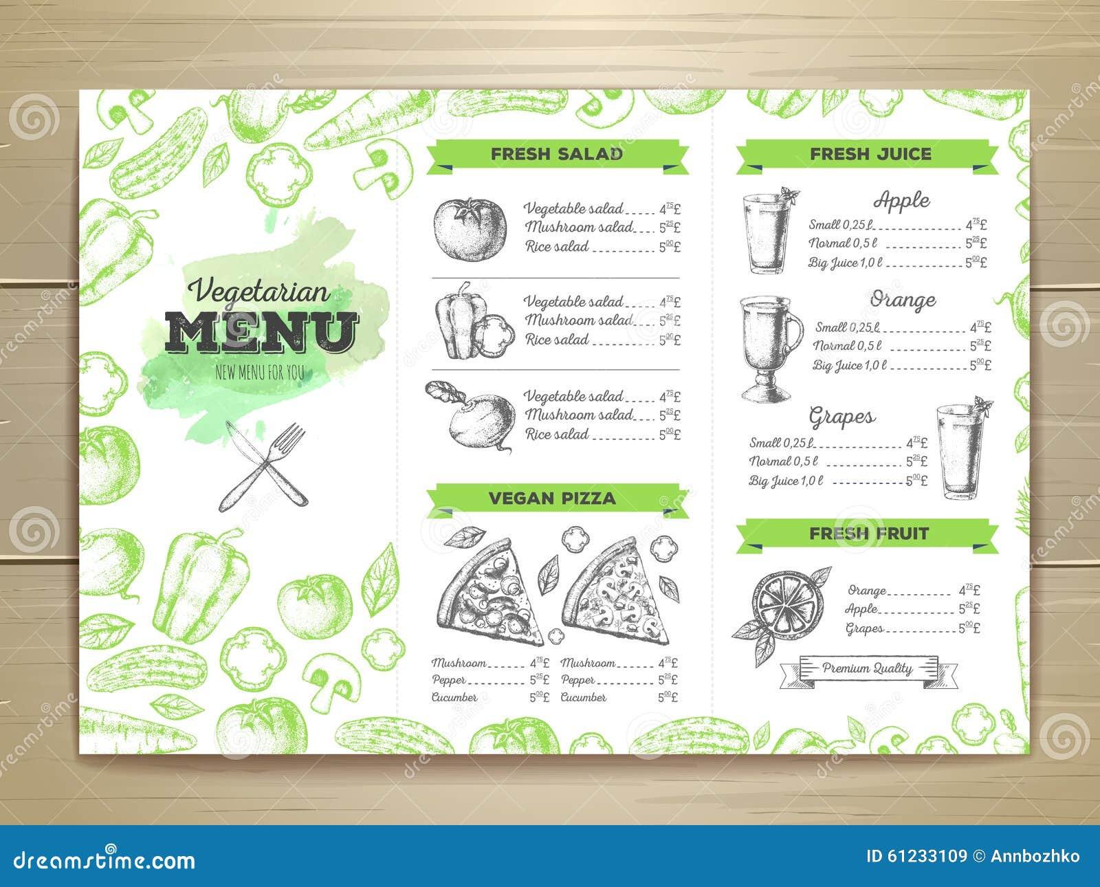 Vintage Vegetarian Food Menu Design. Stock Vector - Image: 61233109