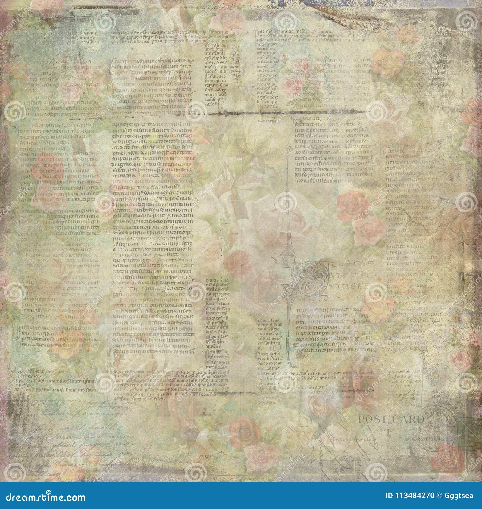 Vintage velho gasto escrito a textura de papel floral