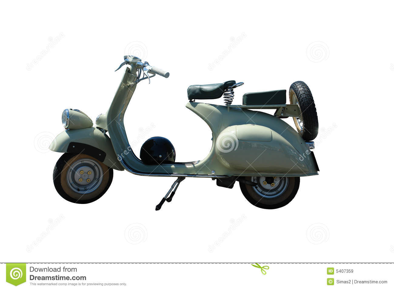 Vintage green vespa scooter. Vector path is included on file.