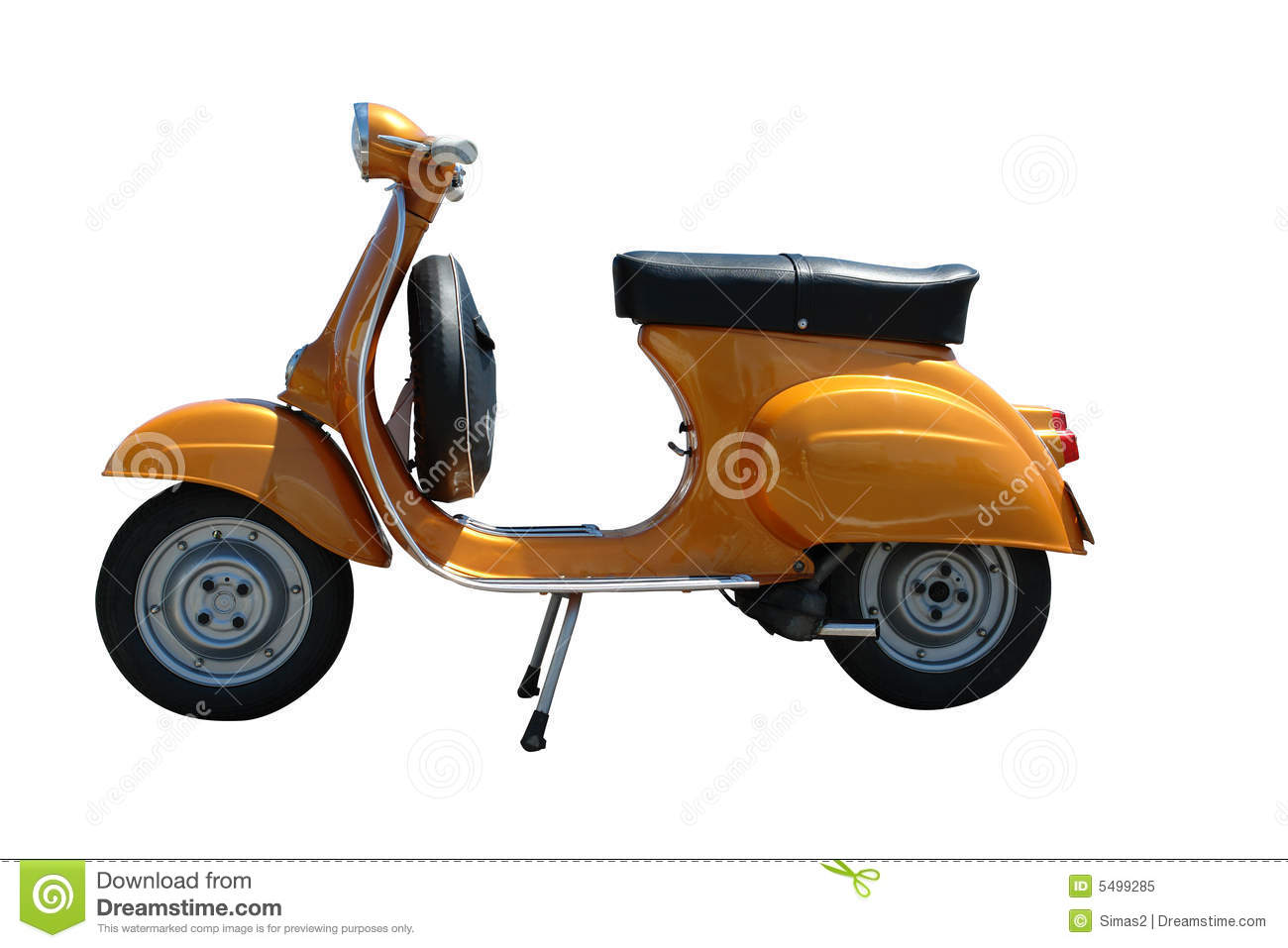 Vintage Vespa Scooter Path Included Stock Illustration