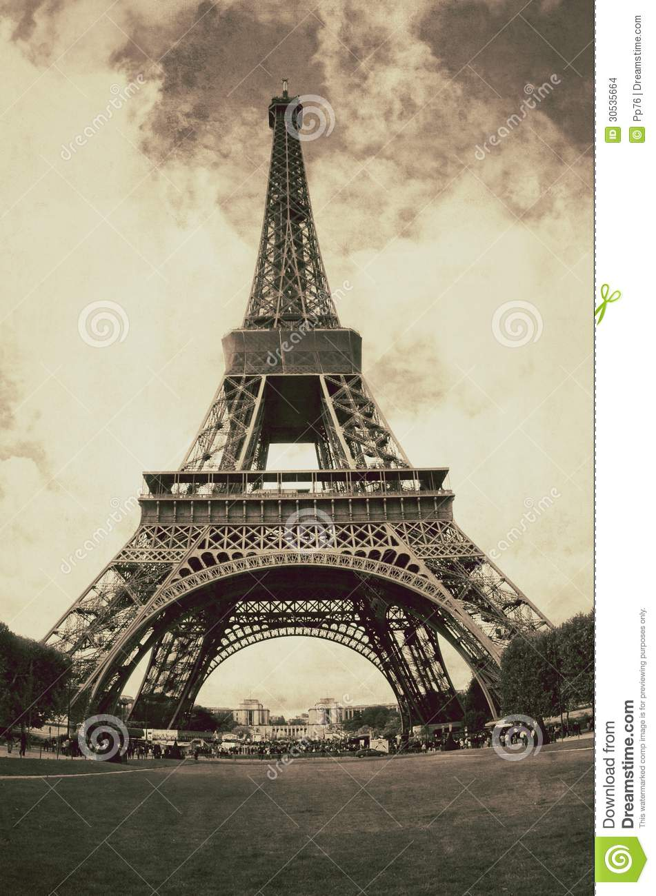 Vintage View Of The Eiffel Tower In Paris France Stock