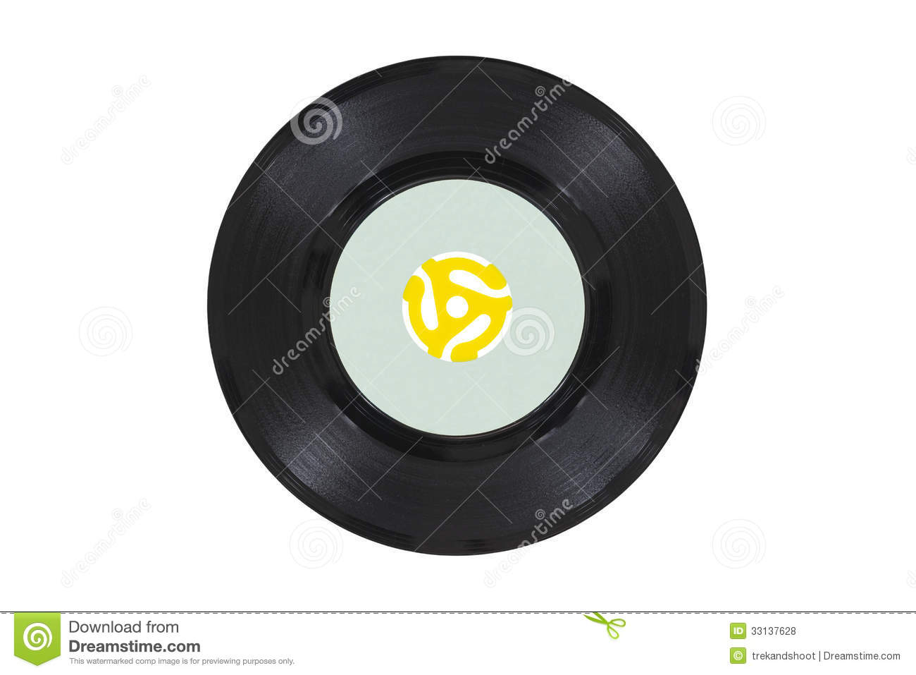 Vintage Vinyl Disk With Yellow Adapter Stock Photo Image