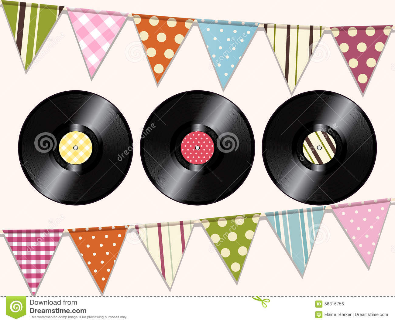 Vintage Vinyl Records And Bunting Background Stock