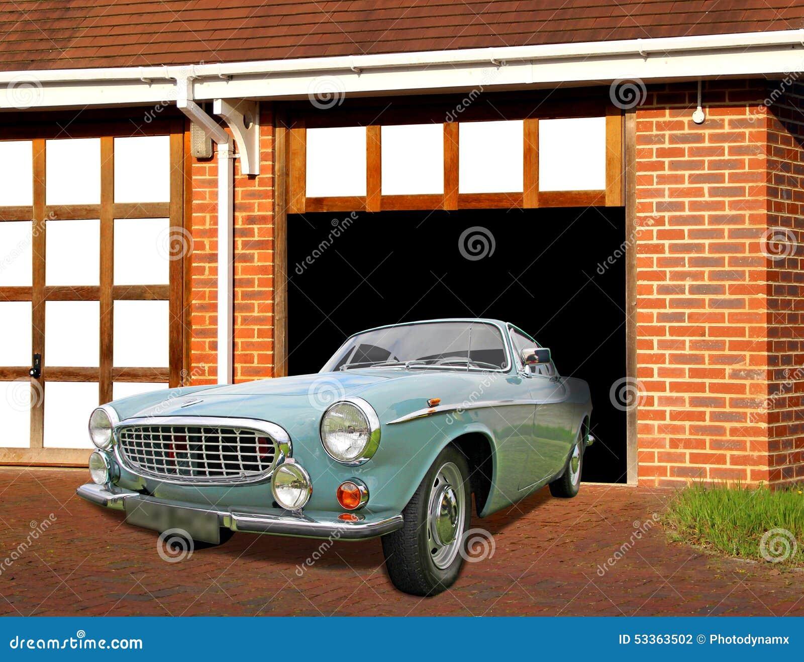 vintage volvo car in garage stock photo image of transport owner 53363502. Black Bedroom Furniture Sets. Home Design Ideas