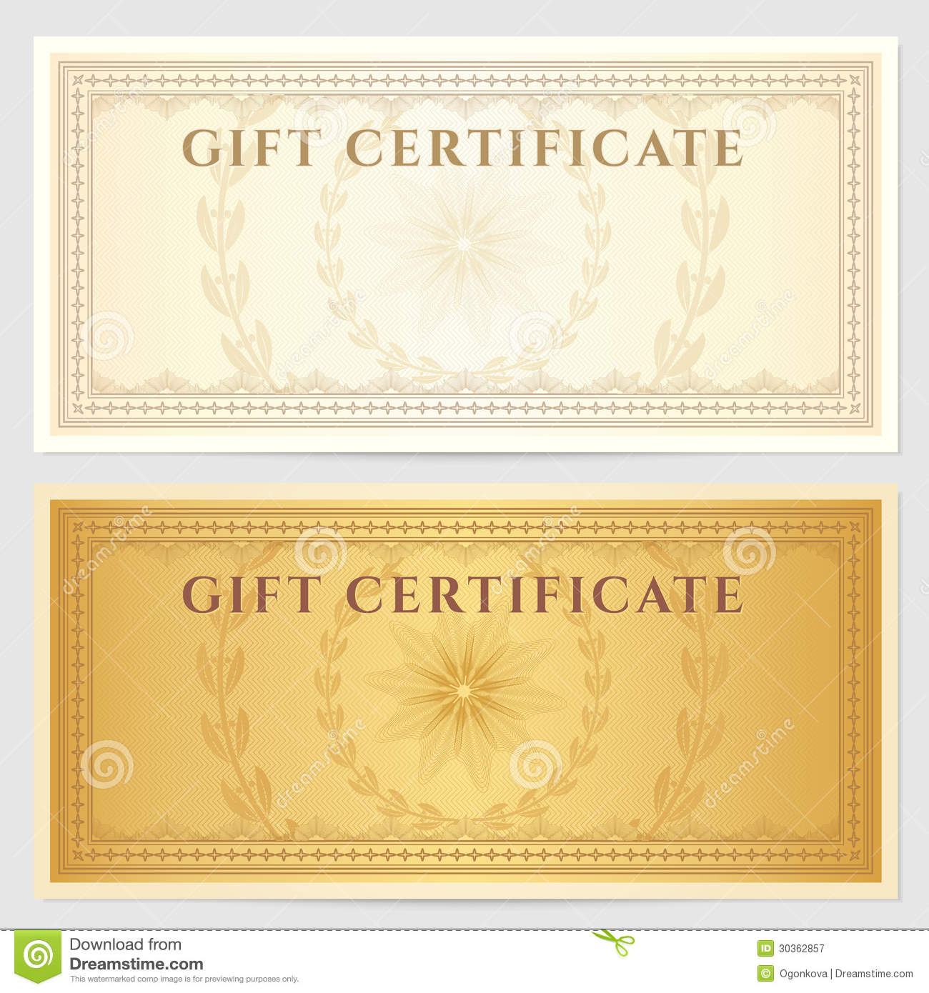 Vintage Voucher Coupon Template With Border Stock Vector