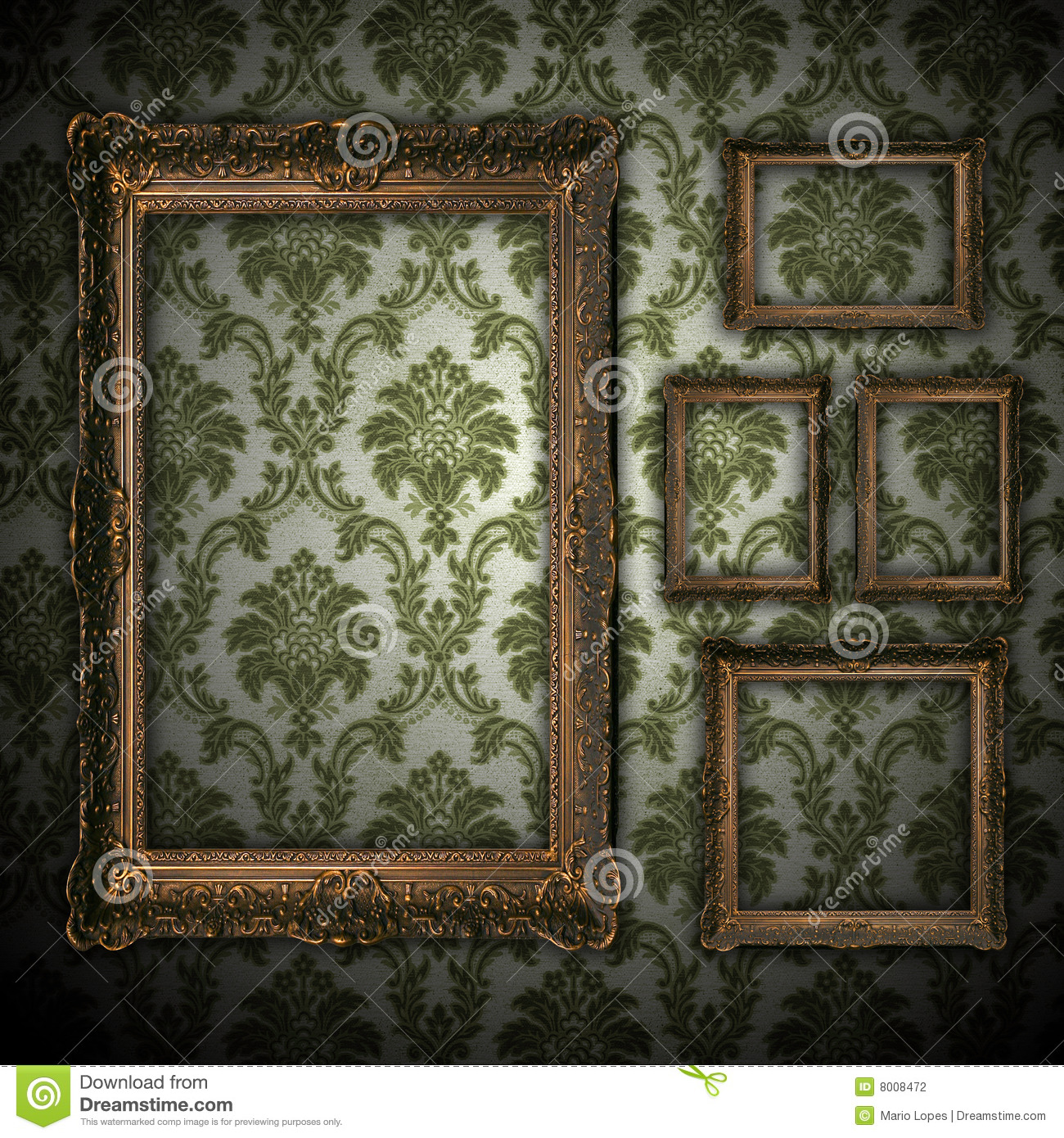 Vintage wall background with empty gold frame Wall Background With Empty Gold Frame Stock Illustration
