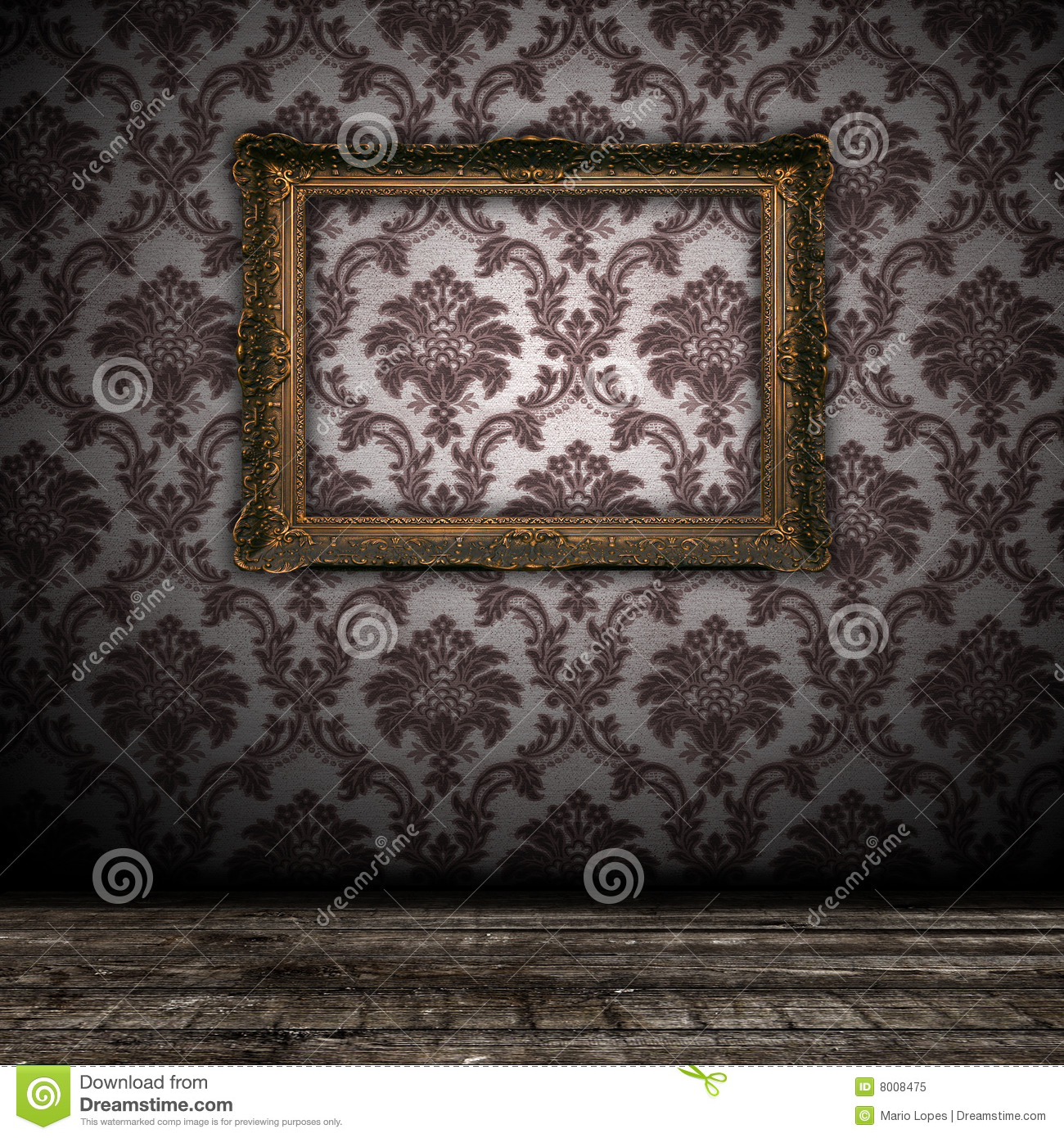 Vintage Wall Background With Empty Gold Frame Royalty Free Stock Photo ...