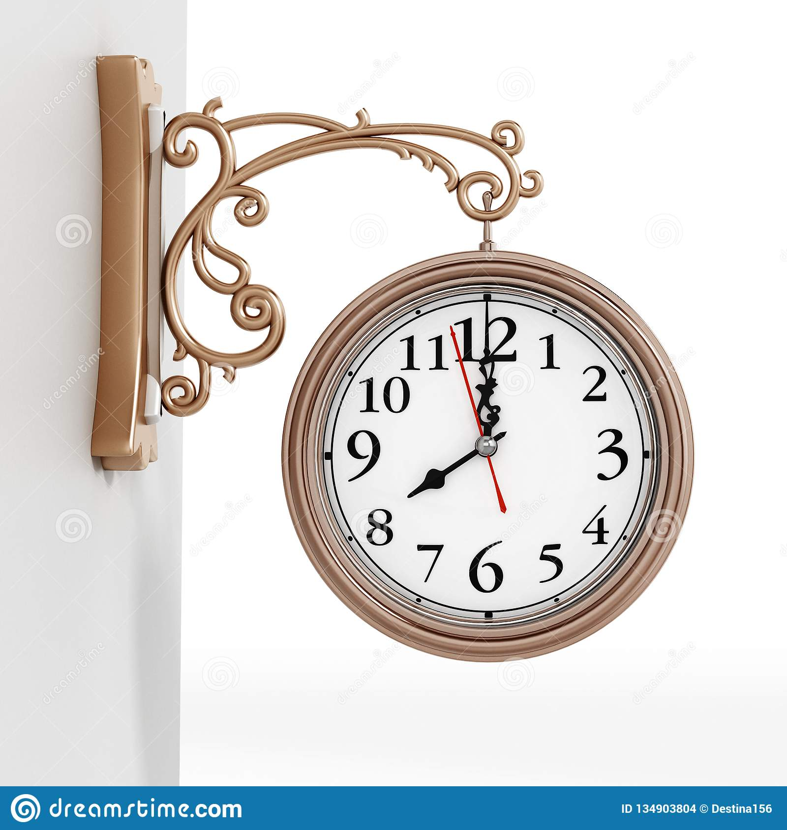 Vintage wall clock isolated on white background. 3D illustration