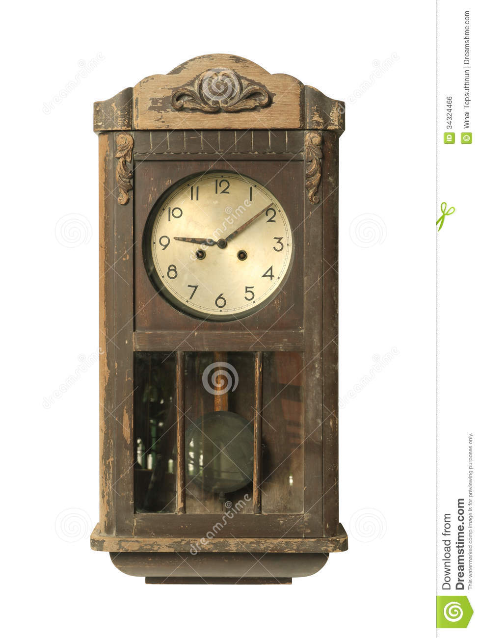 Vintage Wall Clock Stock Photo Image Of Ancient Isolated 34324466