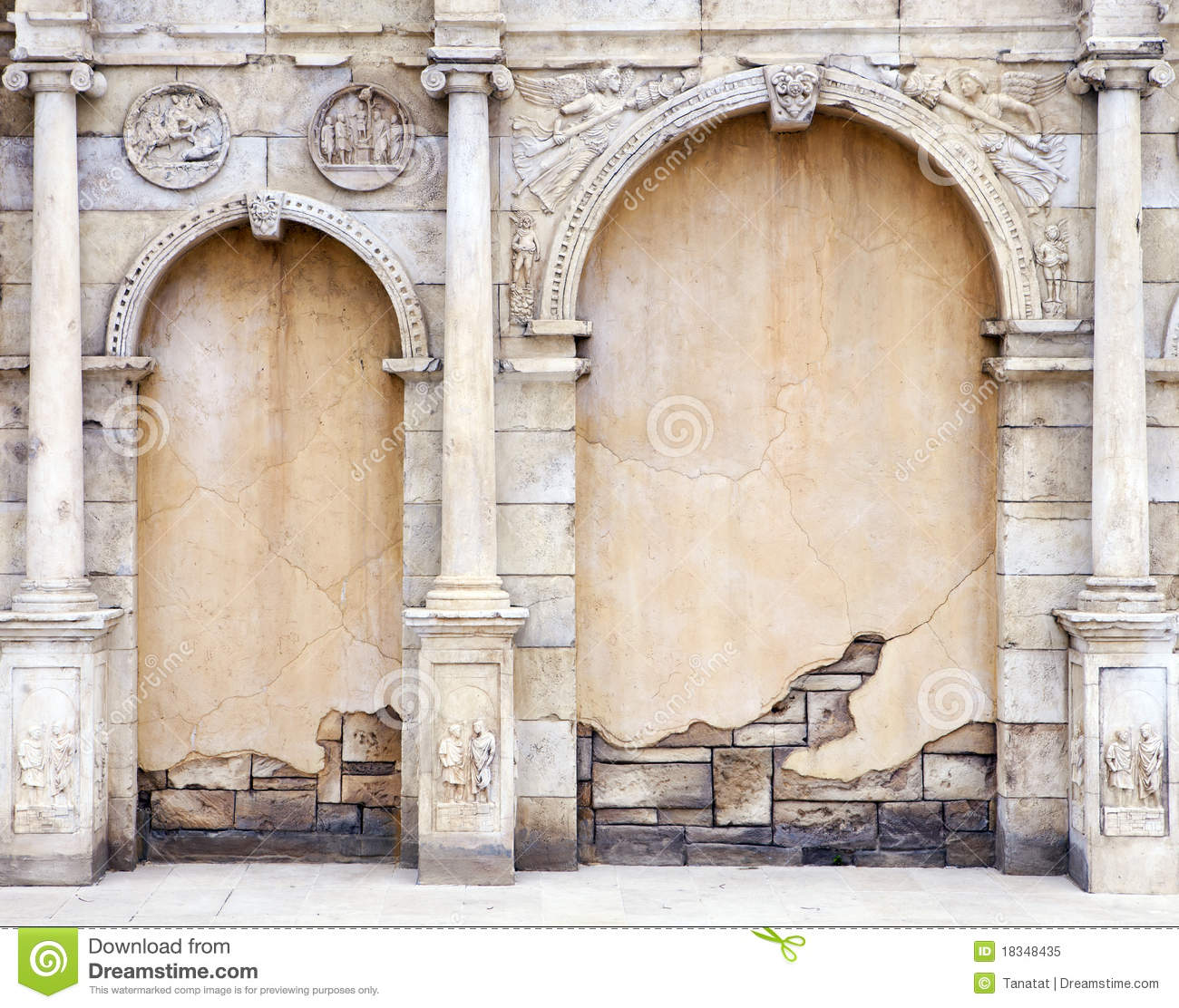vintage wall in roman style stock image image 18348435
