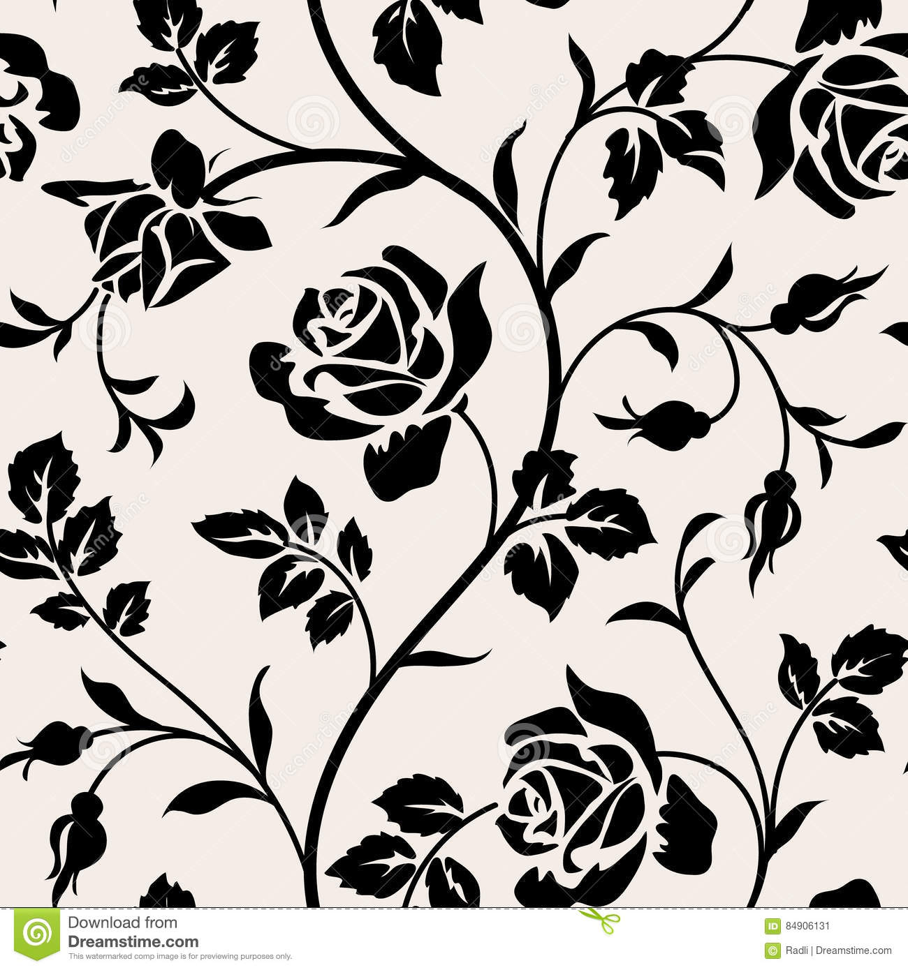 Black Flower Silhouette Pattern Royalty Free Stock Images: Vintage Wallpaper With Blooming Roses And Leaves.Floralm
