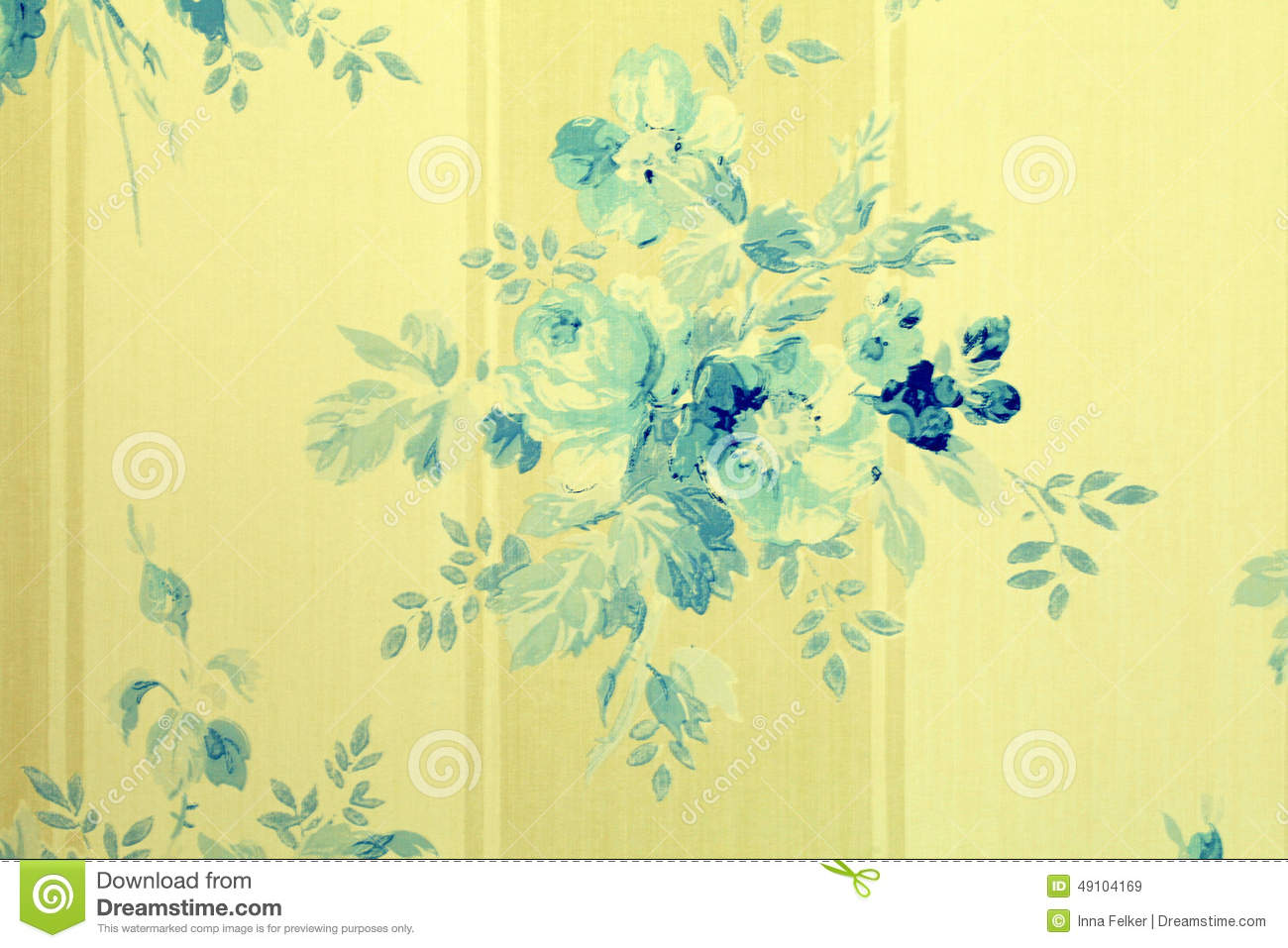Vintage Wallpaper With Blue Flowers Floral Pattern