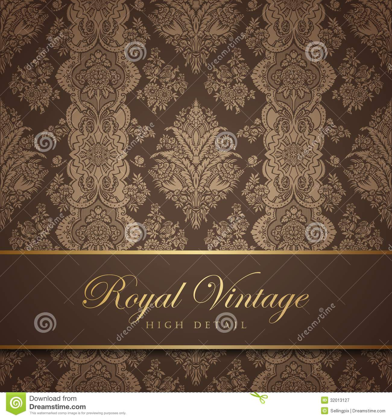 Vintage Wallpaper Design Flourish Background Flo Stock Vector