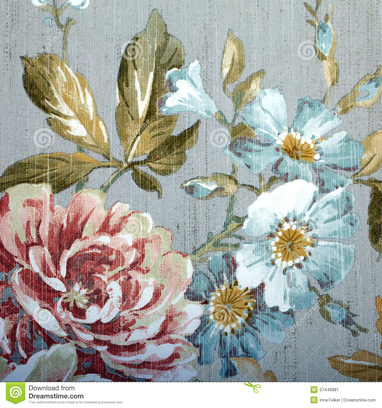 Vintage Wallpaper With Floral Pattern Stock Image Image Of